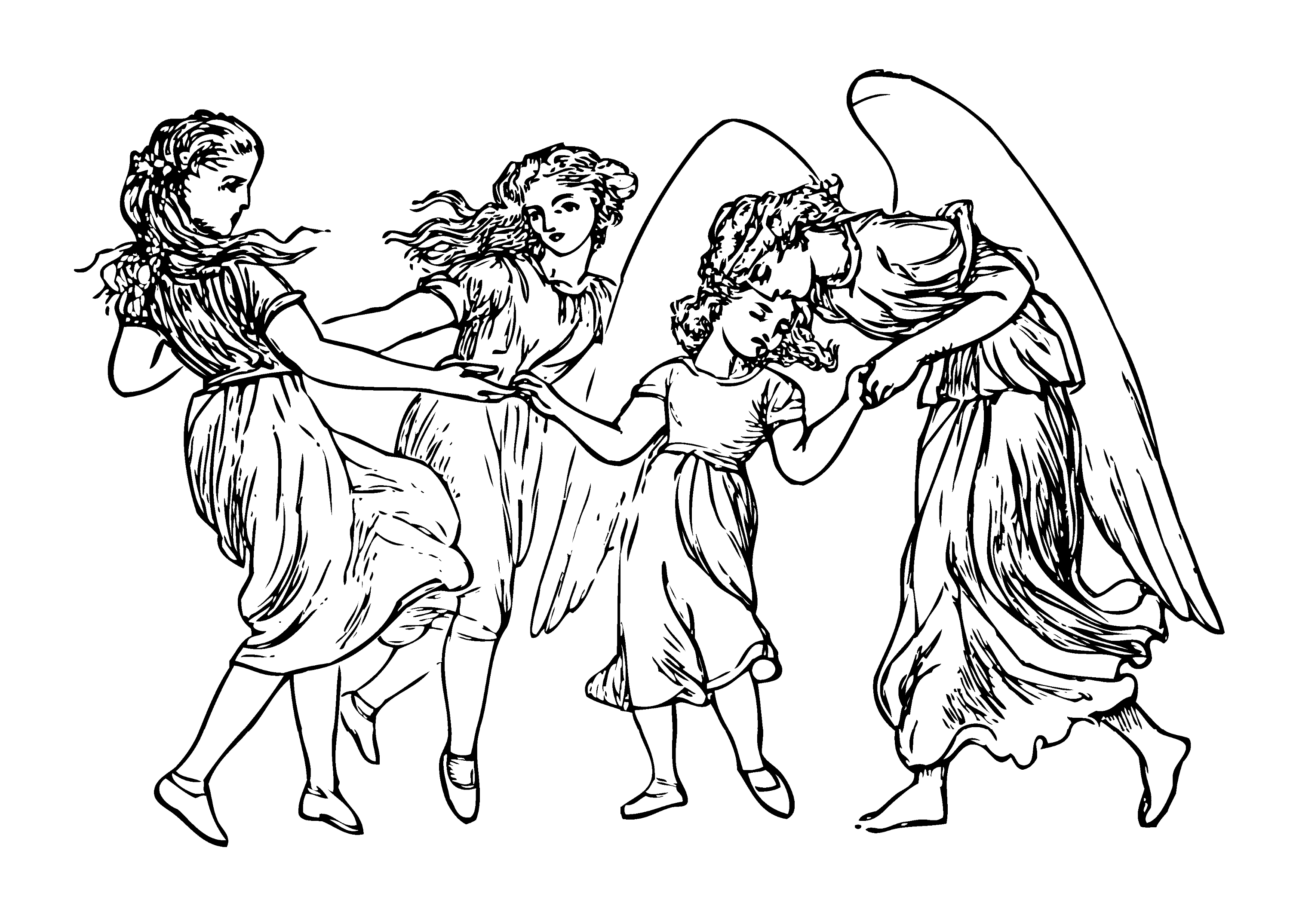 Rossetti Sing Song Girls and Angel - Free Clip Art