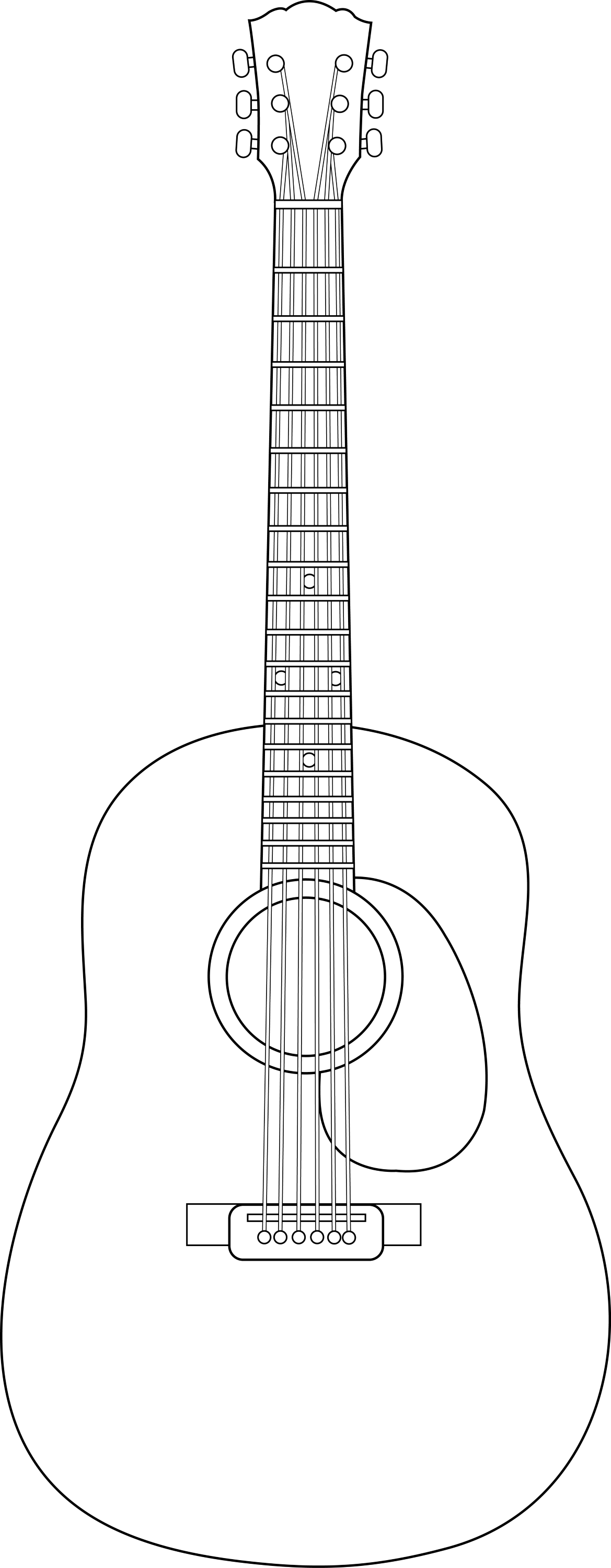 colorable guitar line art free clip art