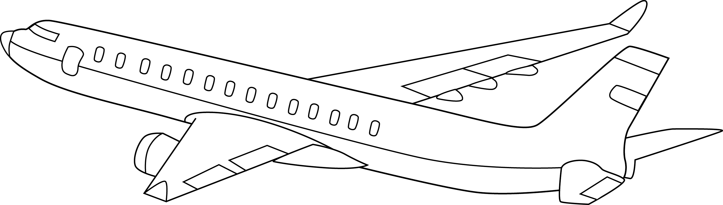 commercial airplane line art free clip art