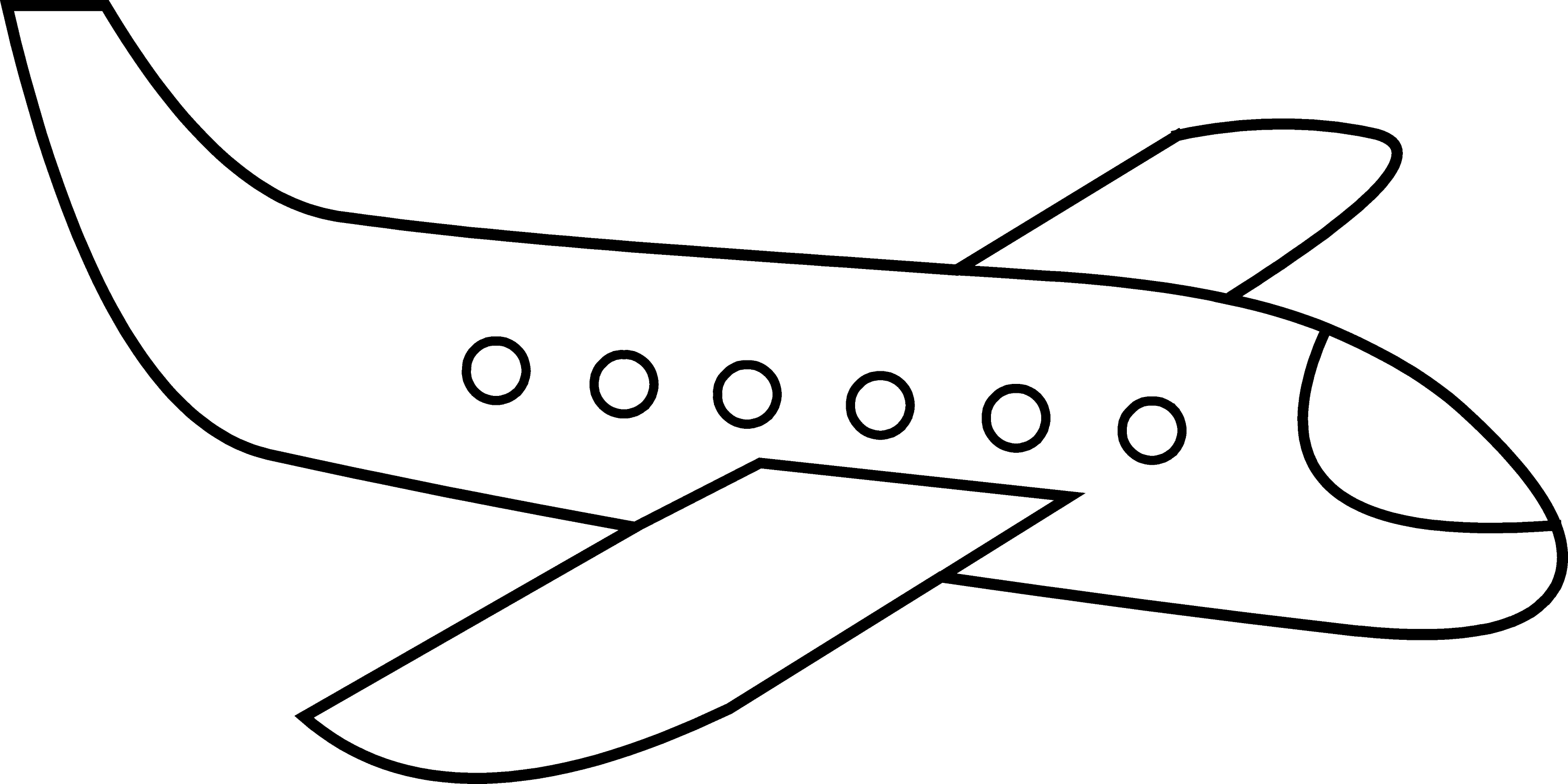 cute simple airplane line art free clip art
