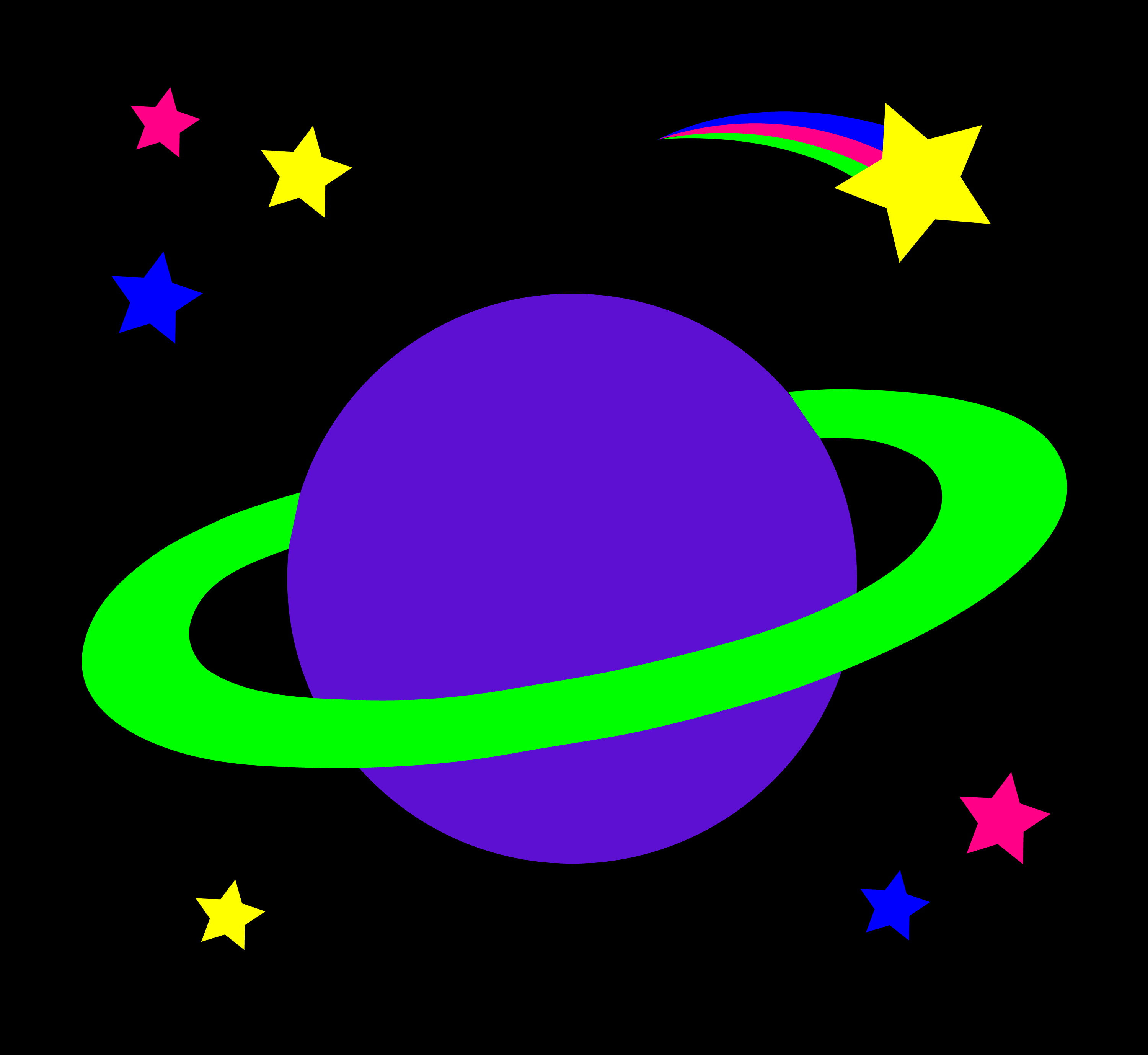 Ringed Planet With Stars - Free Clip Art