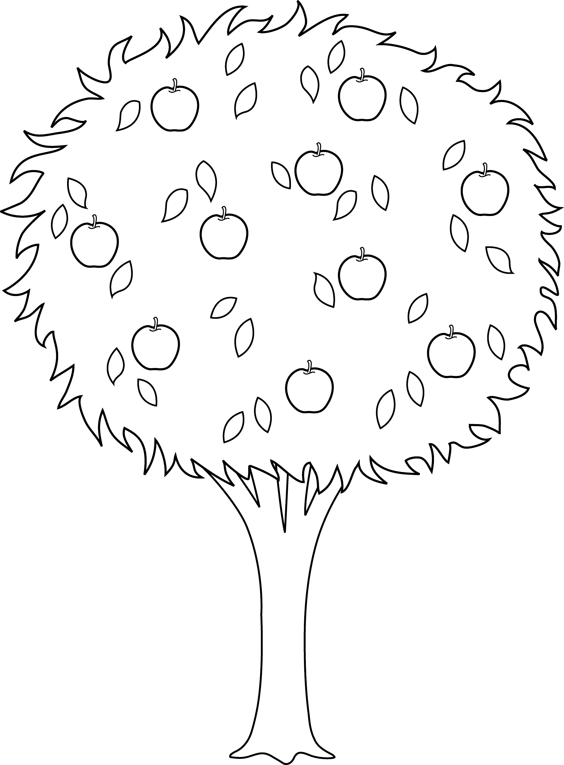 Colorable Apple Tree Outline Free Clip Art Tree Clipart Coloring Page