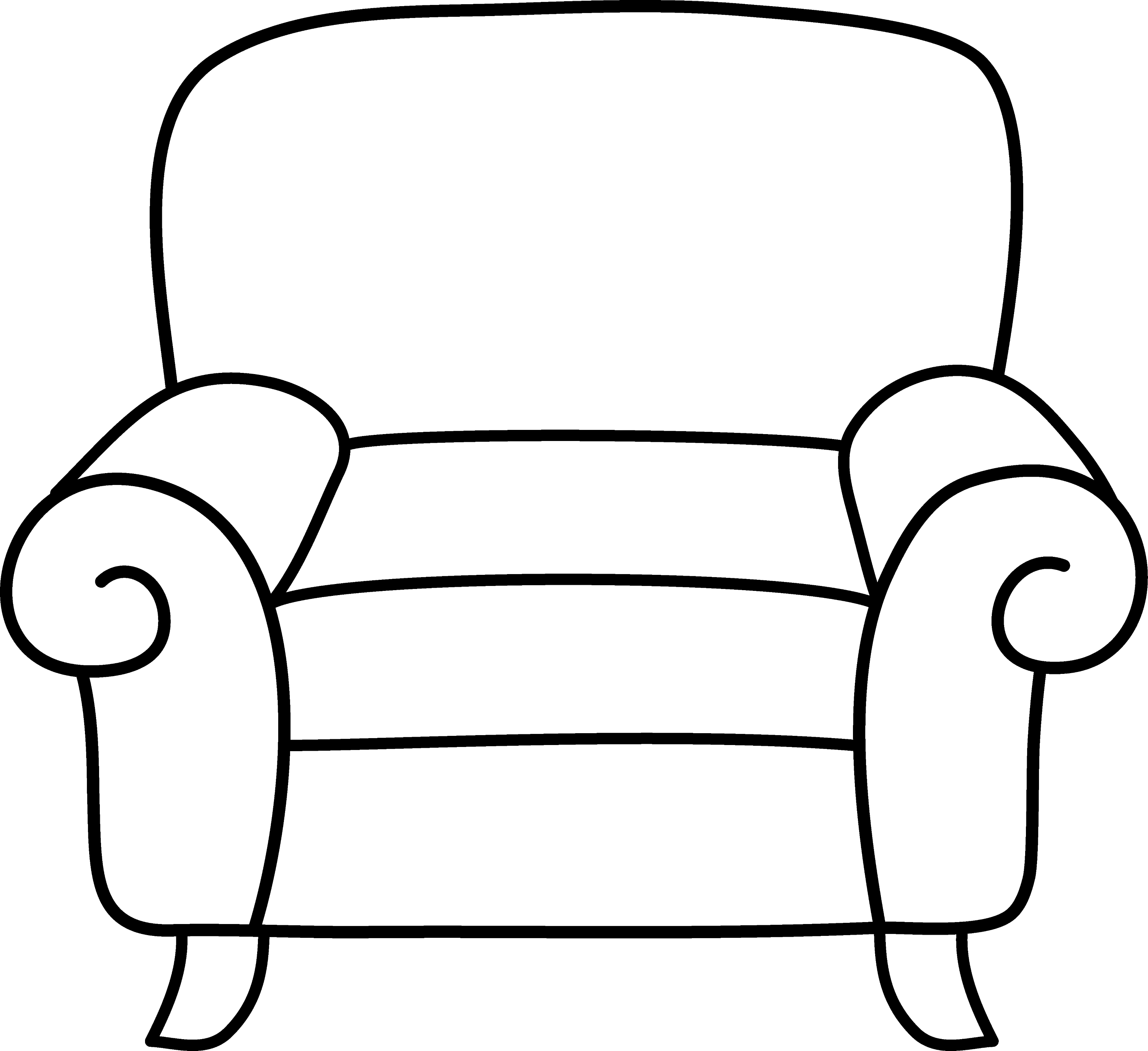 Armchair Coloring Page - Free Clip Art