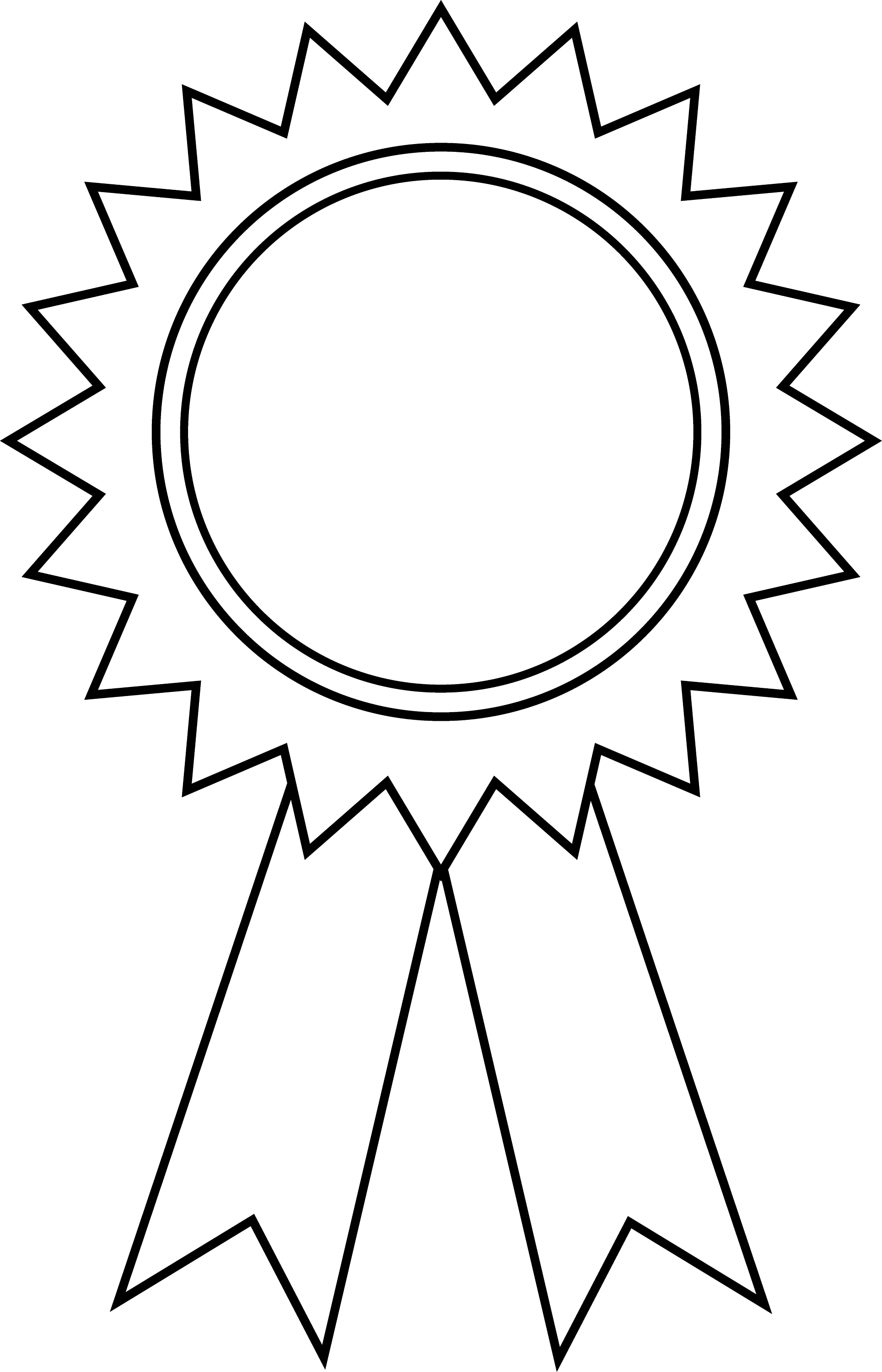 Award Ribbon Outline - Free Clip Art
