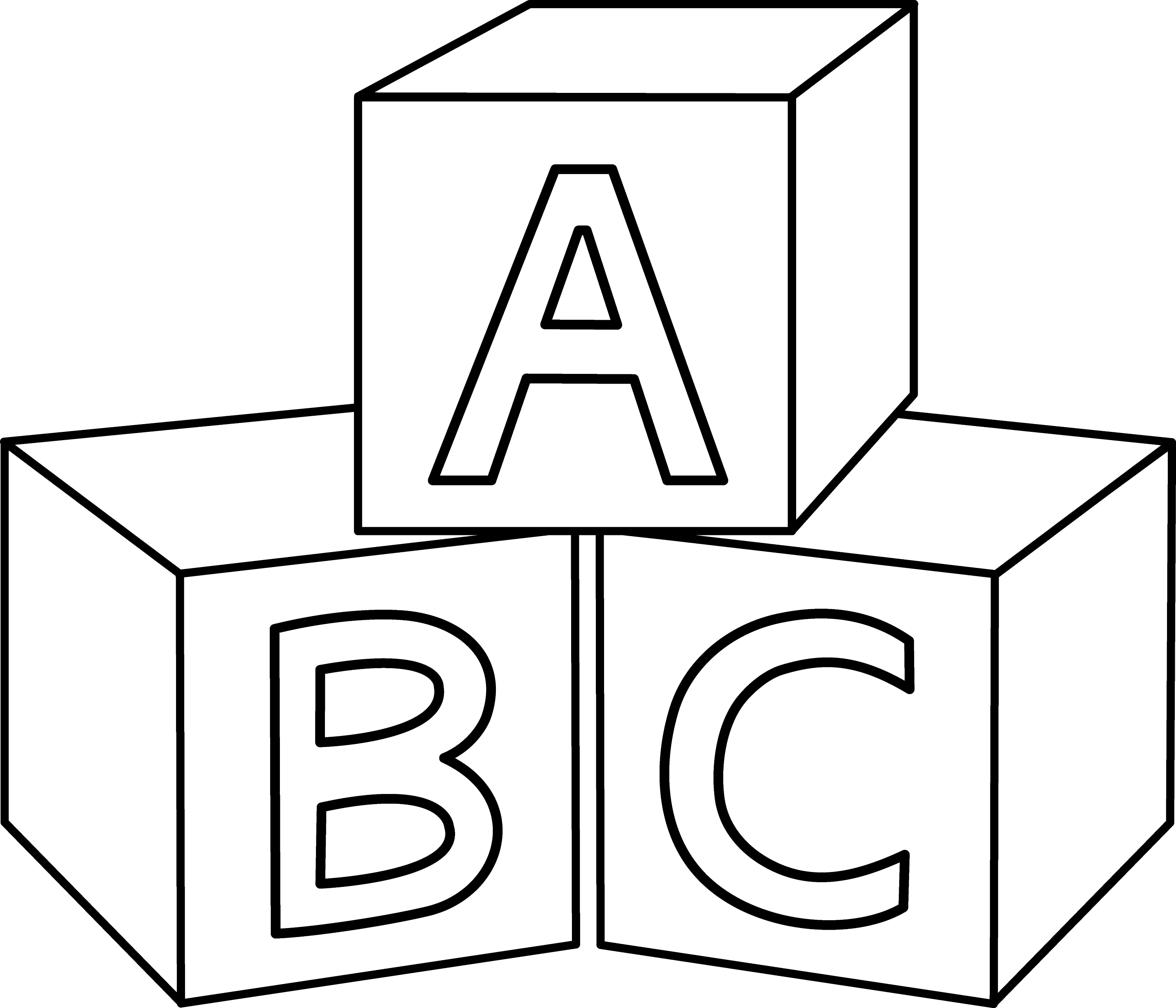 ABC Blocks Coloring Page - Free Clip Art