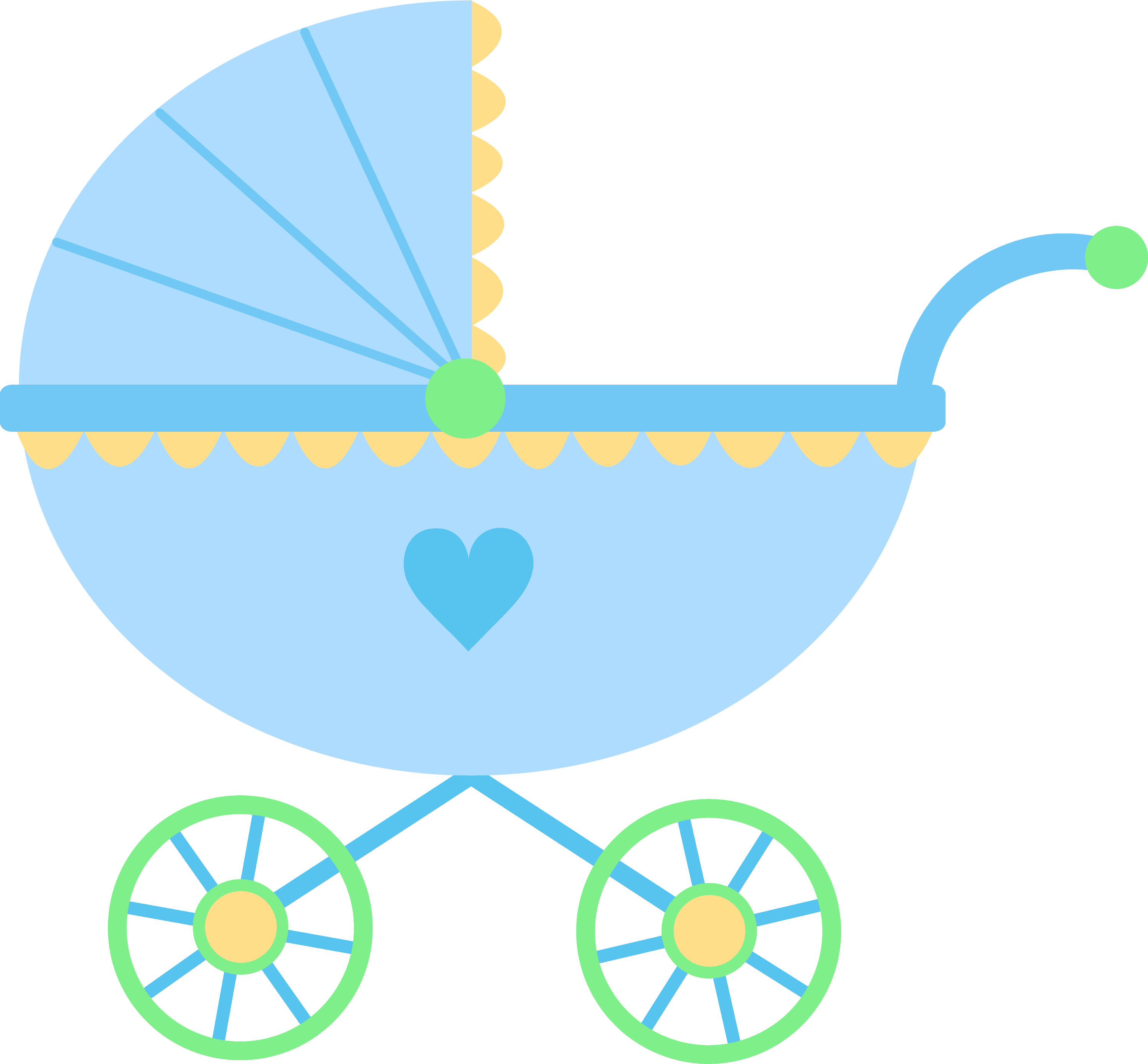 cute blue baby carriage free clip art