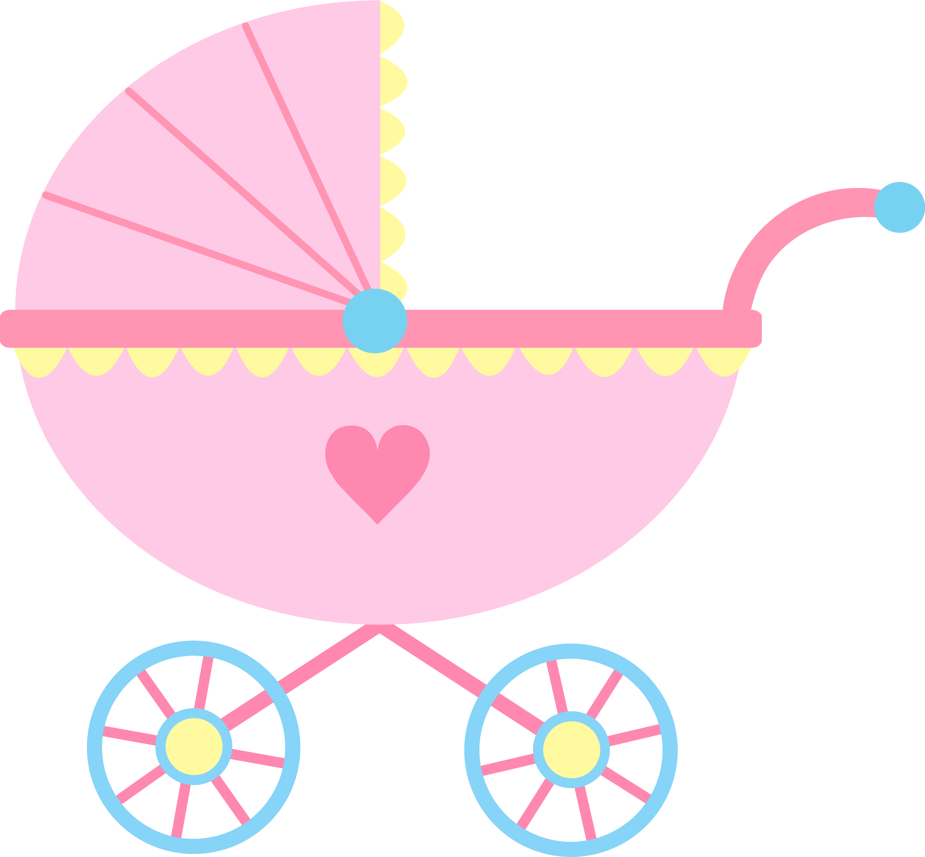 Cute Pink Baby Carriage Clip Art