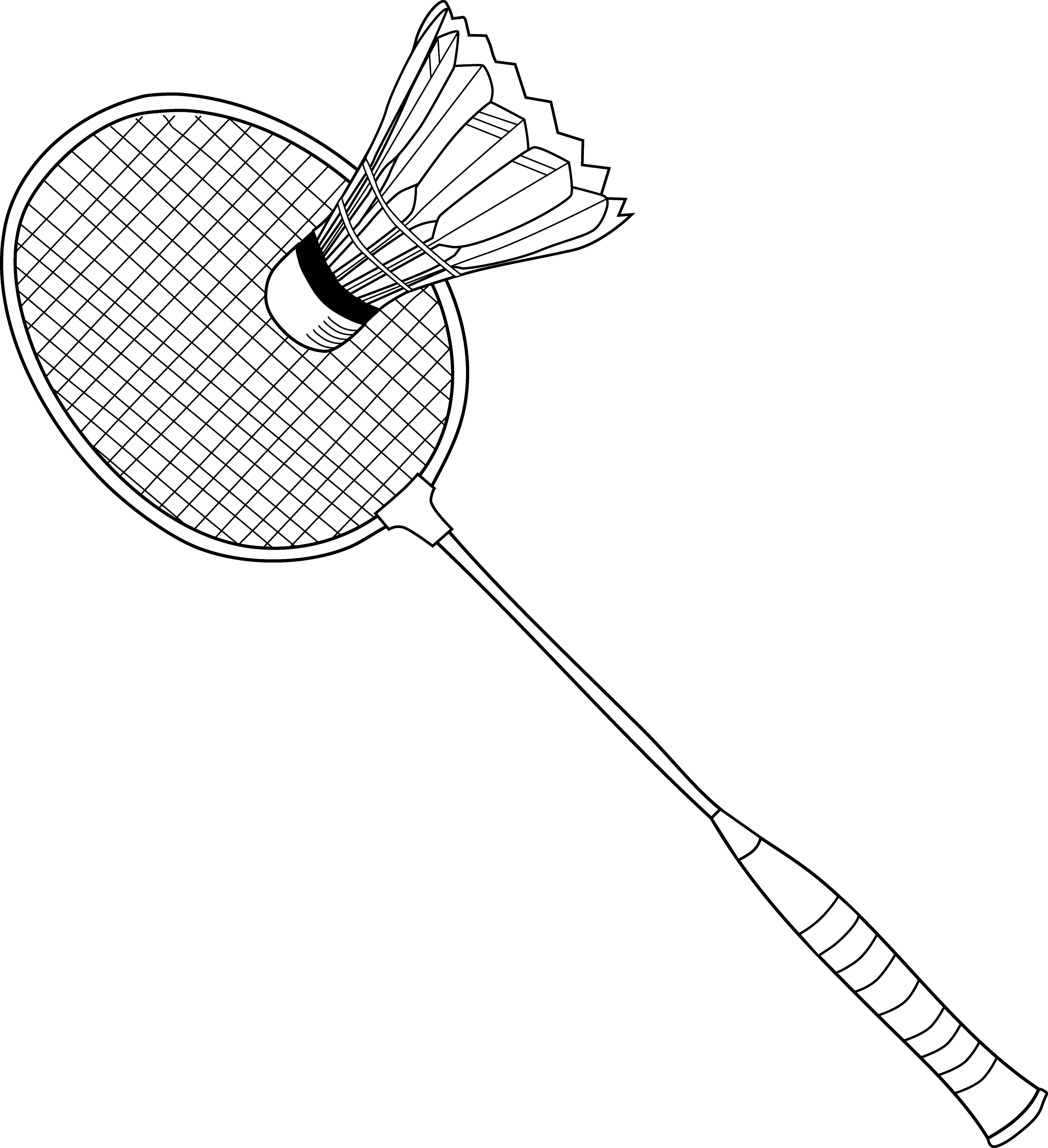 Badminton racket drawing the image kid for Badminton coloring pages