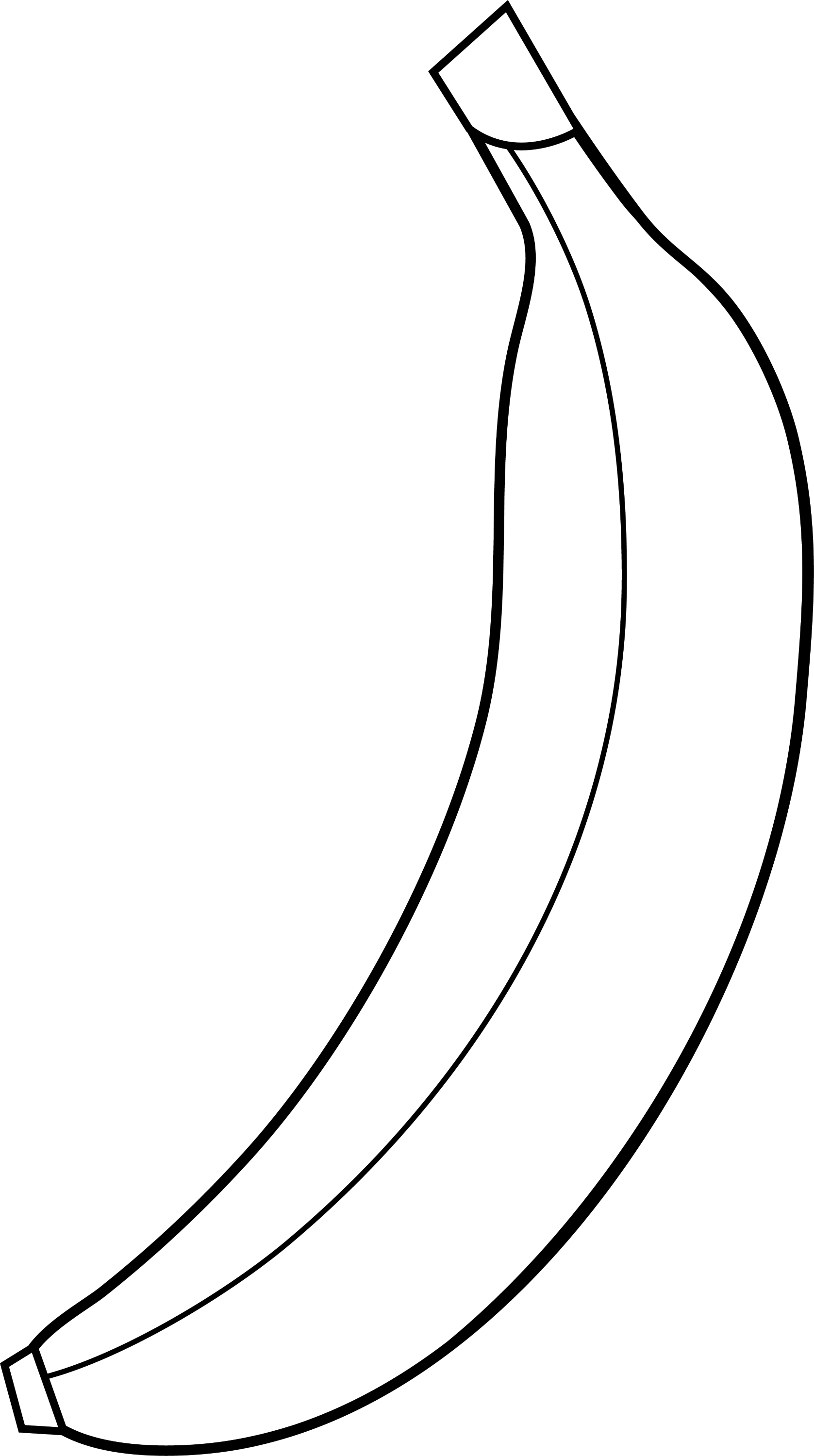 Single Banana Line Art - Free Clip Art