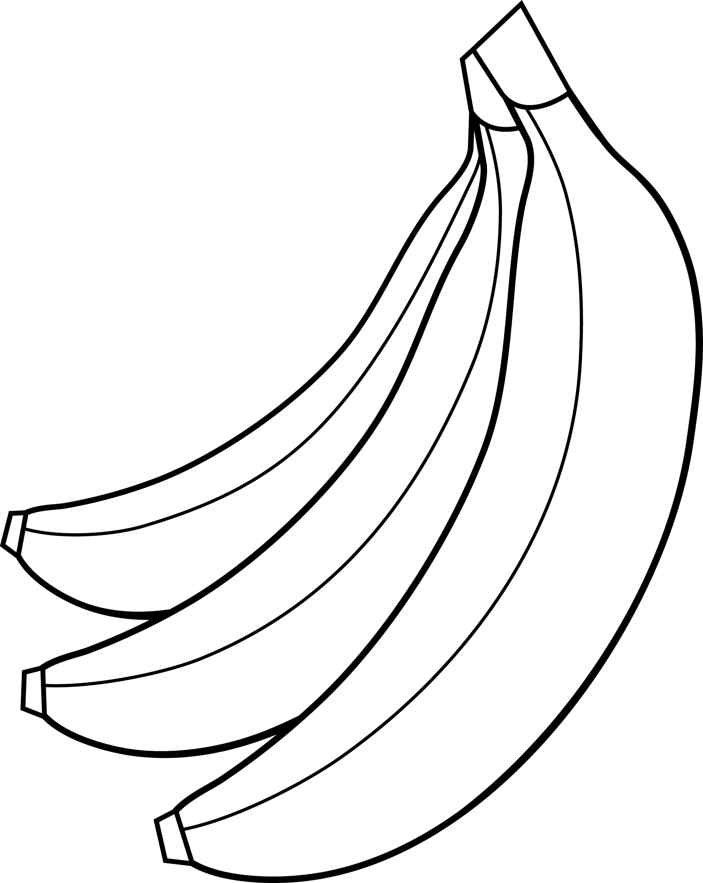Colorable Bunch of Bananas - Free Clip Art