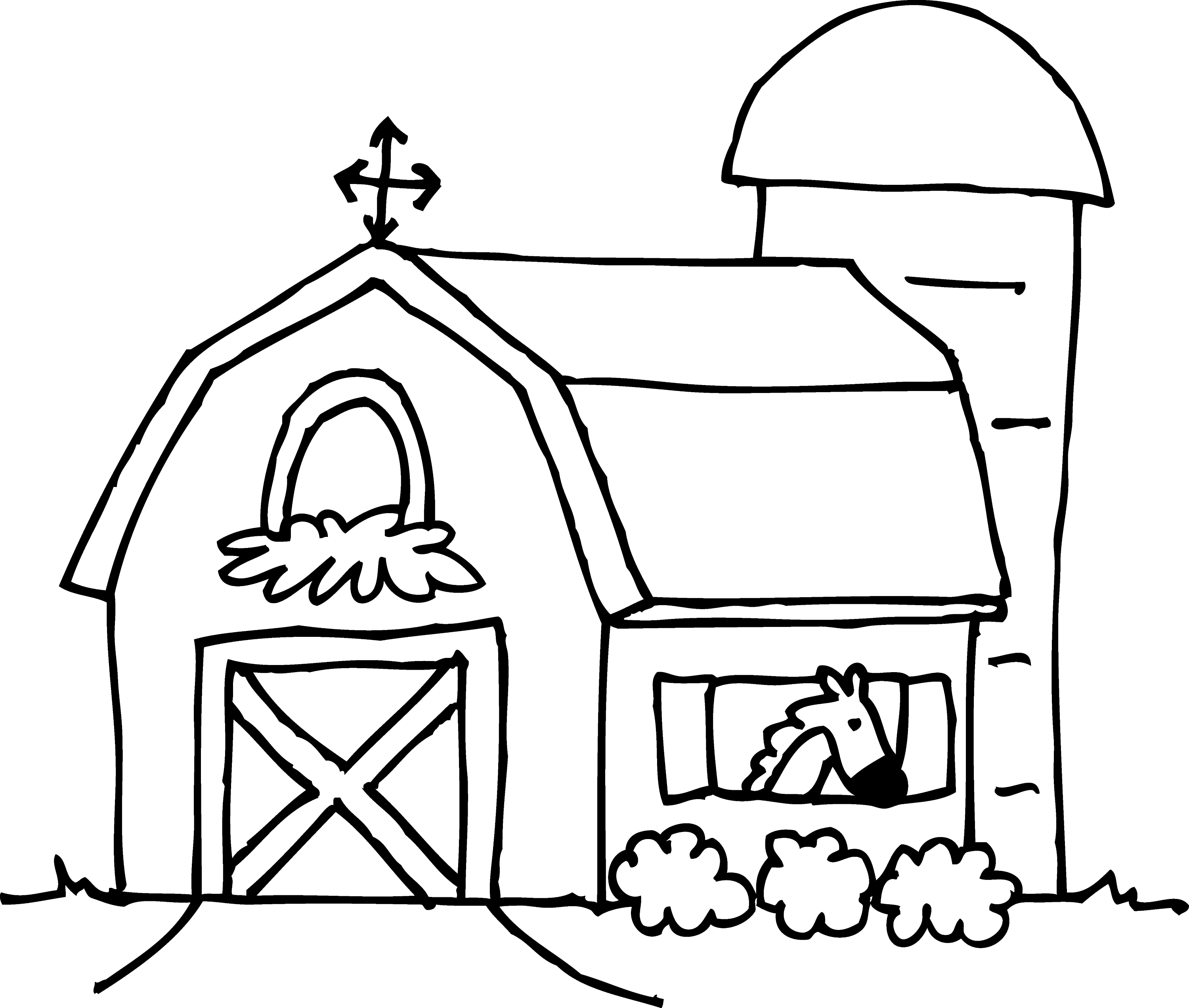 Cute Barn Coloring Page