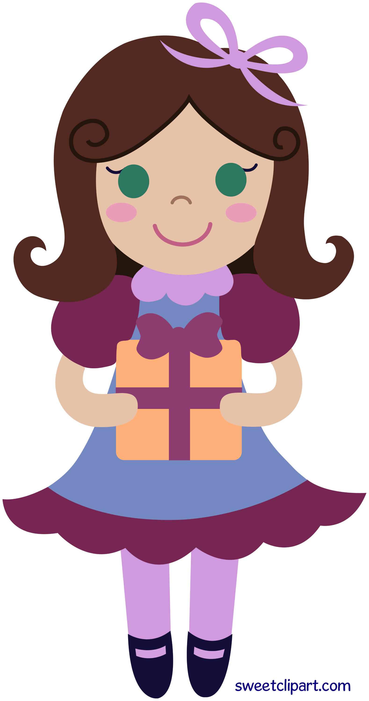 birthday girl with gift clip art free clip art rh sweetclipart com cartoon birthday girl clipart free clipart birthday girl