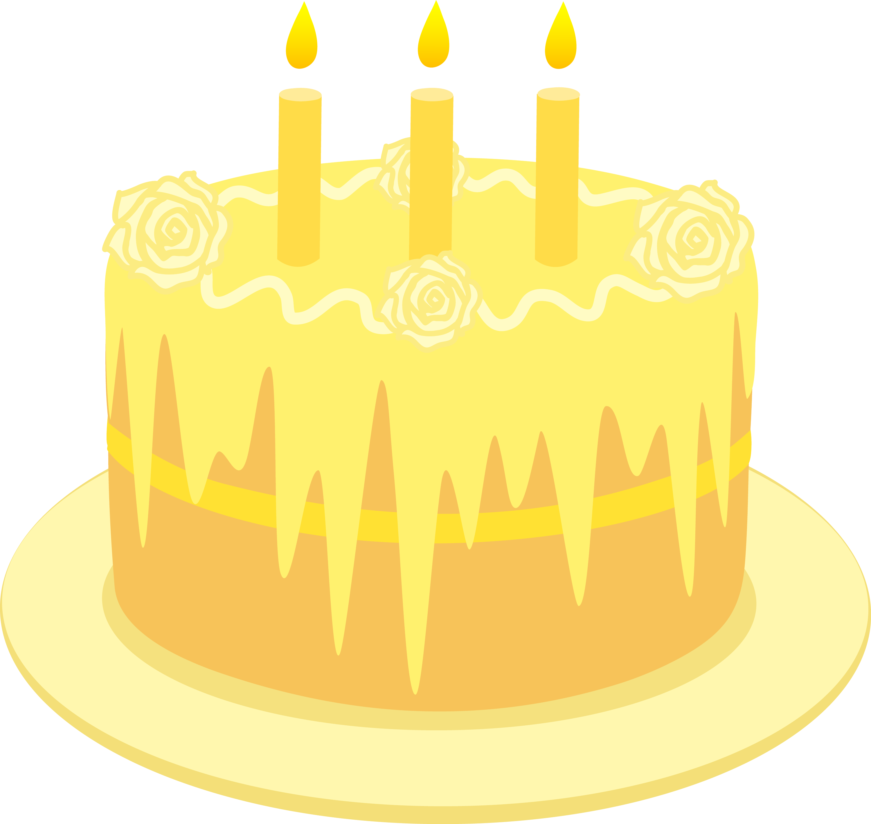 Lemon Birthday Cake With Candles - Free Clip Art
