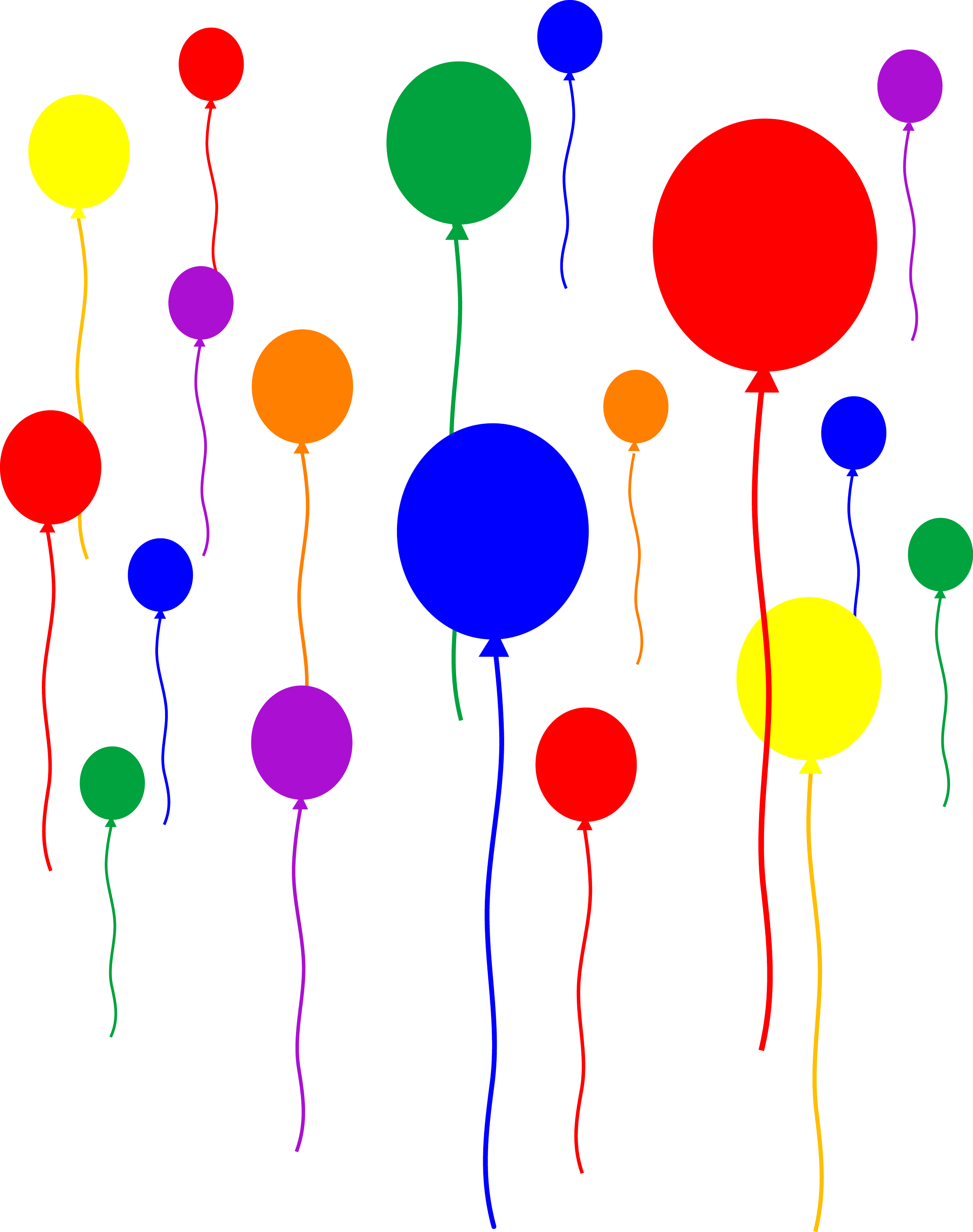 Party Balloons on Transparent Background - Free Clip Art
