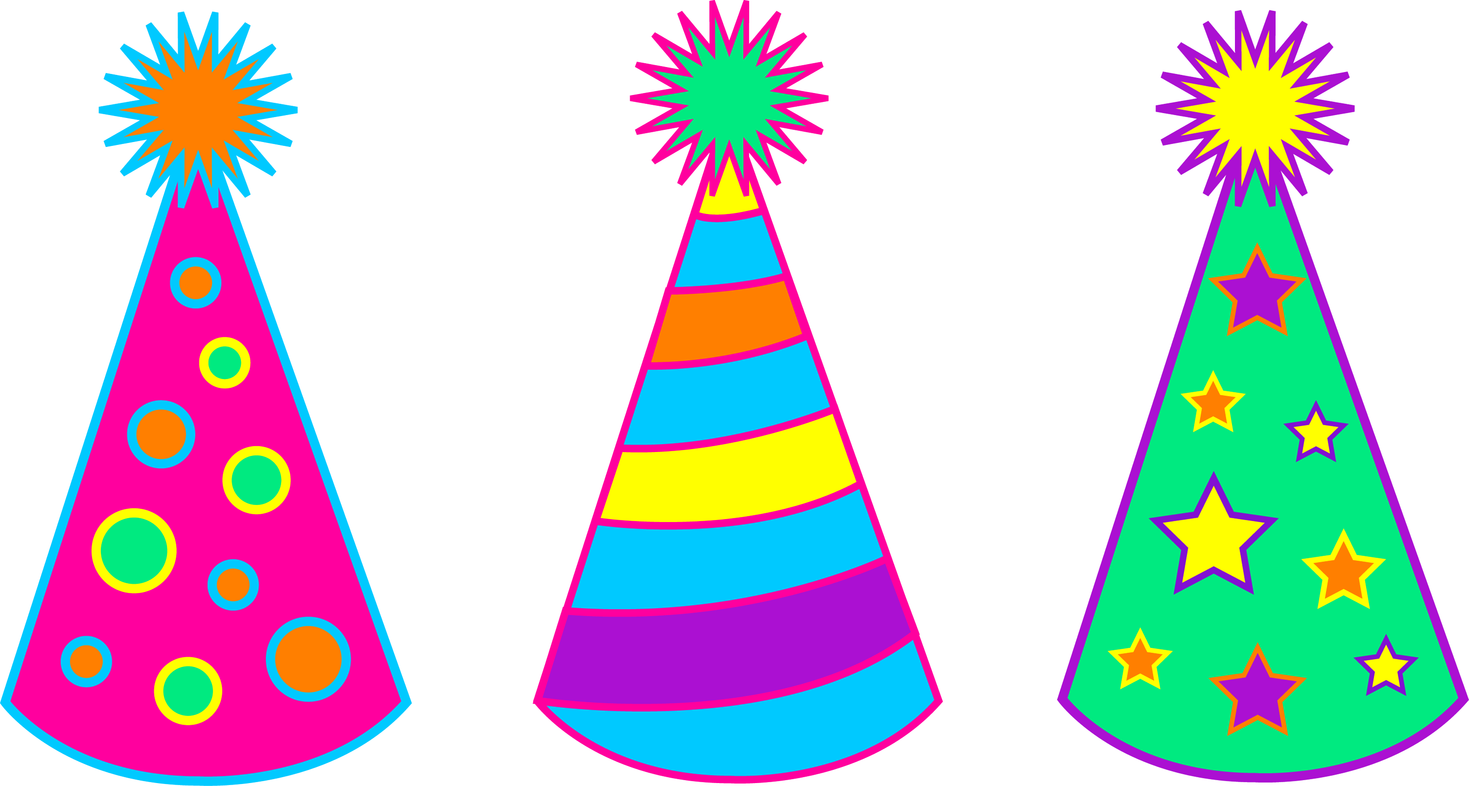 Colorful Birthday Party Hats Free Clip Art