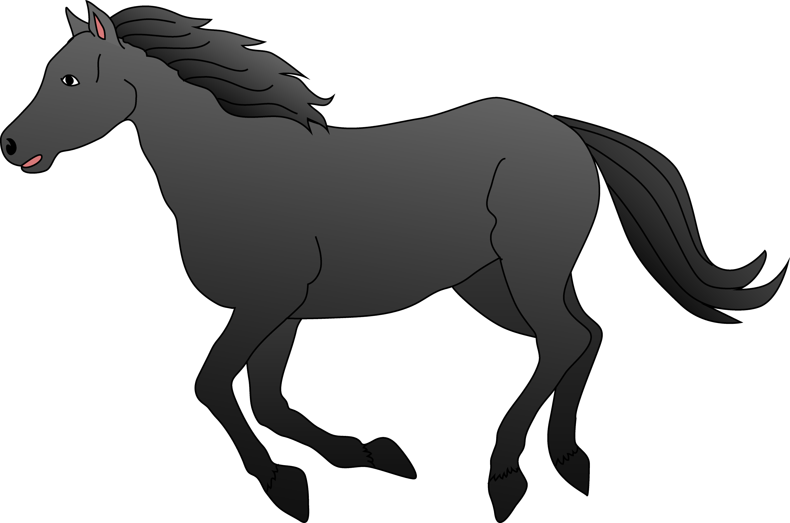 Black Horse Galloping Clip Art Free Clip Art