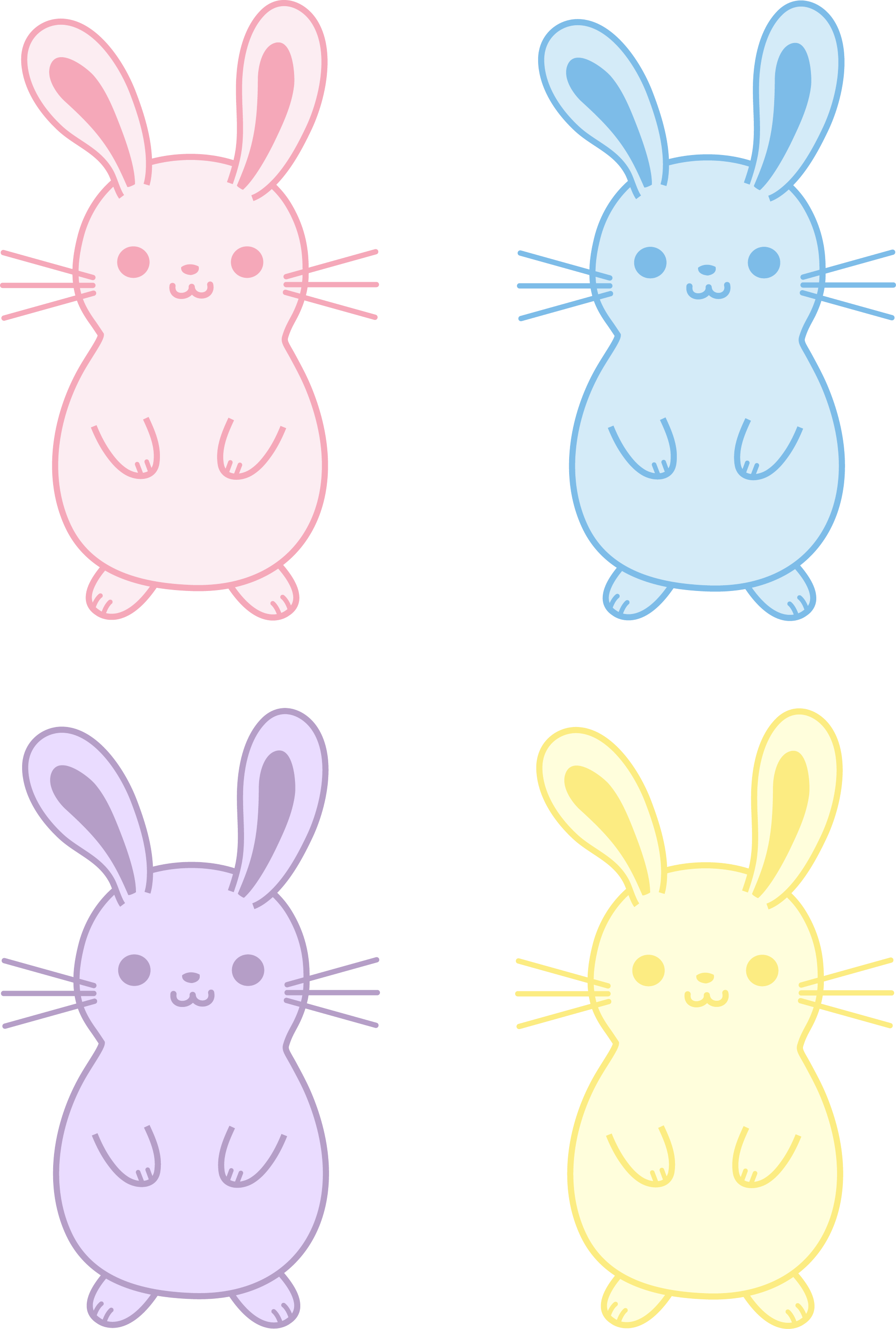 set of four cute easter bunnies free clip art rh sweetclipart com cute bunny clipart cute easter bunny clipart