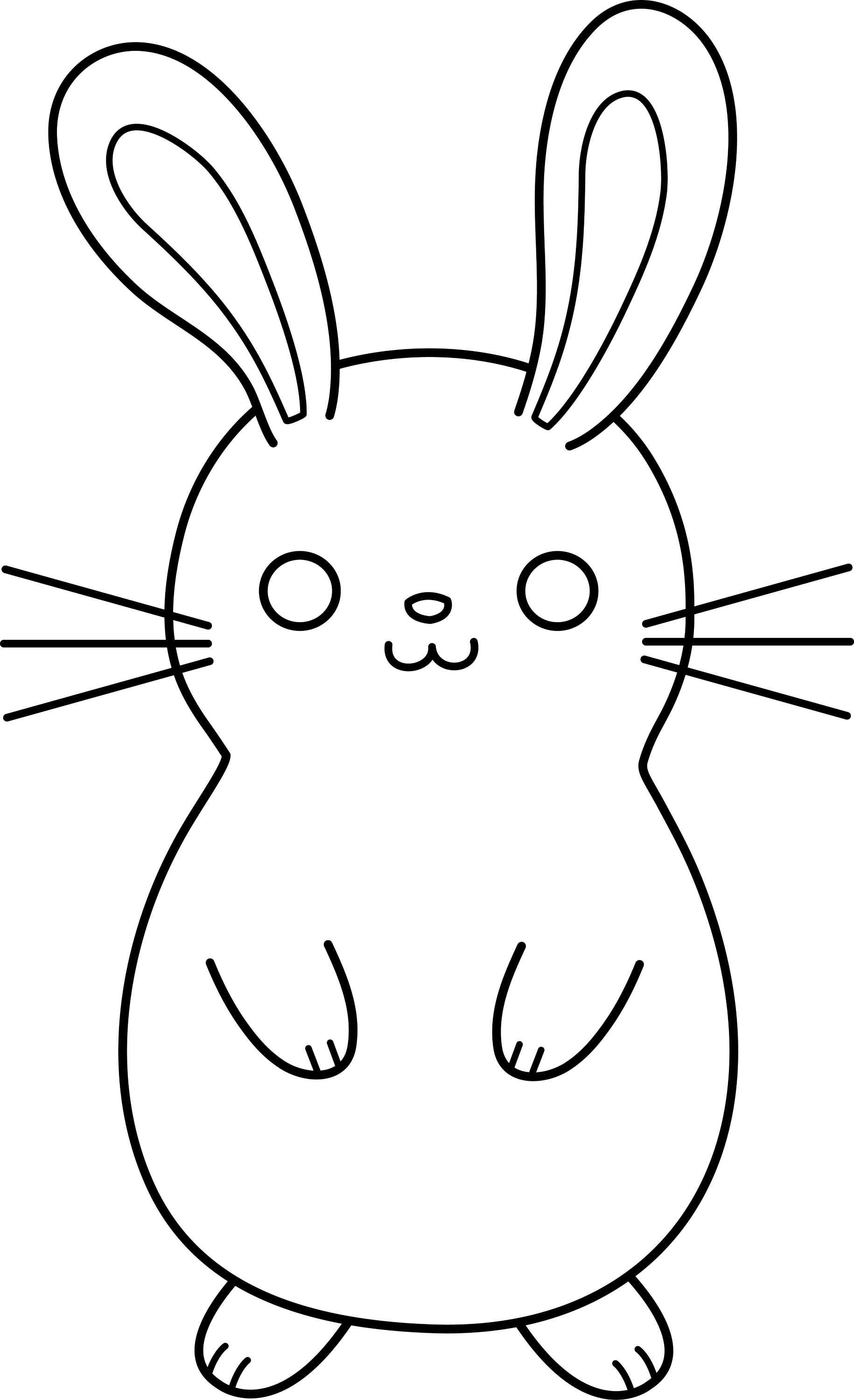 Line Art Easter Bunny : Cute colorable easter bunny free clip art