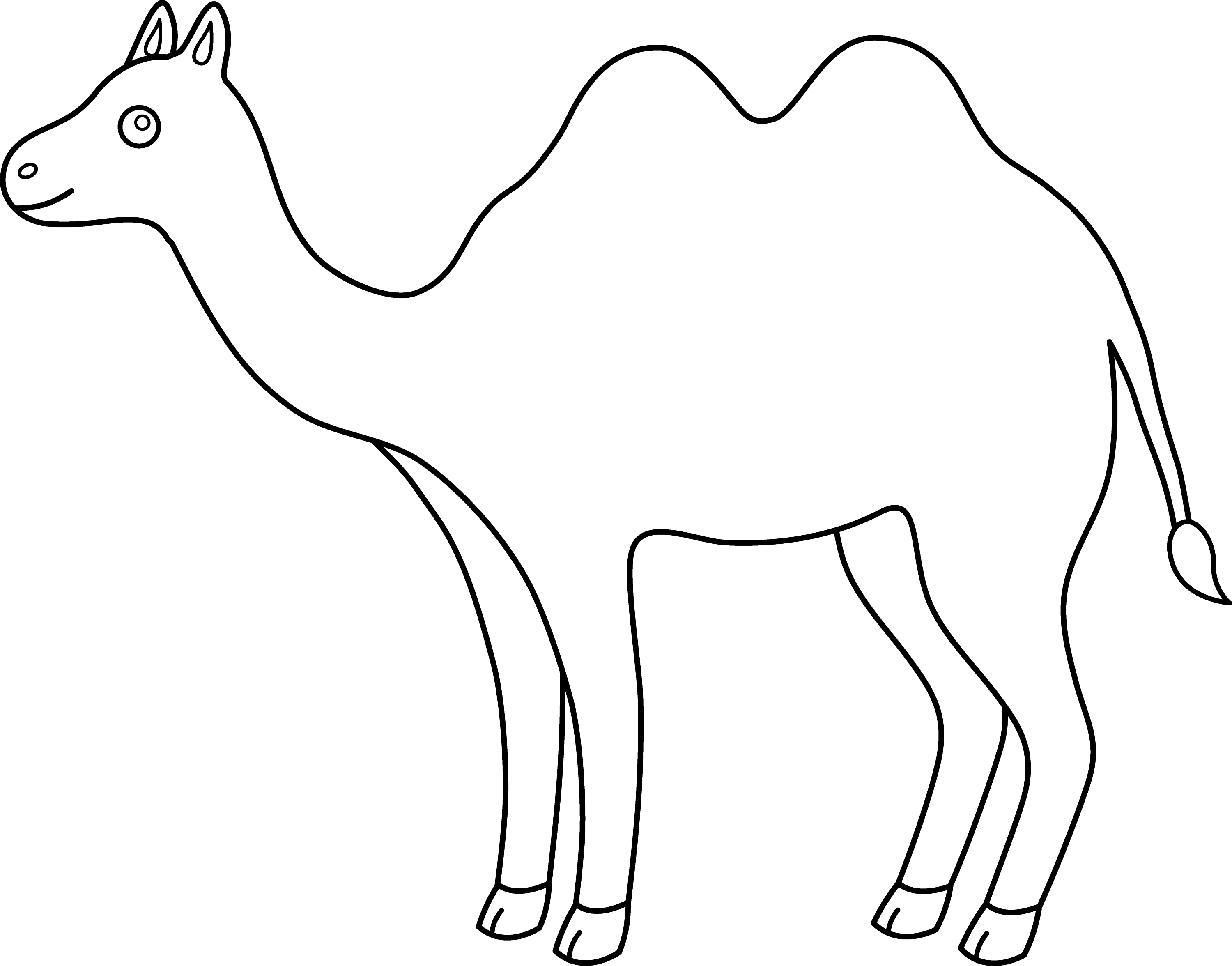 colorable outline of a camel free clip art