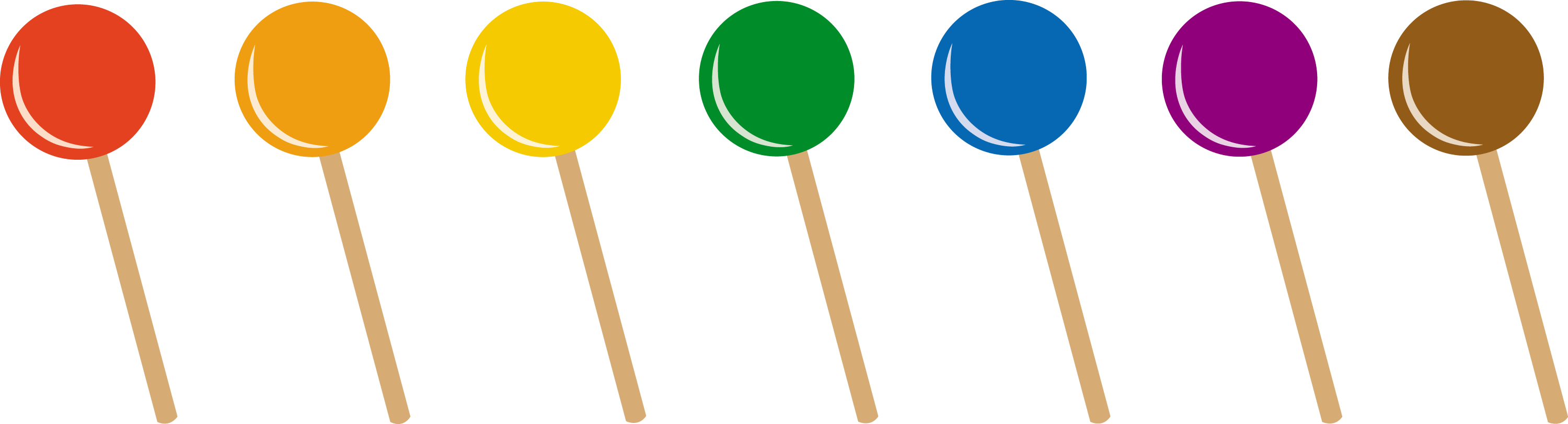 Lollipops in Seven Flavors - Free Clip Art