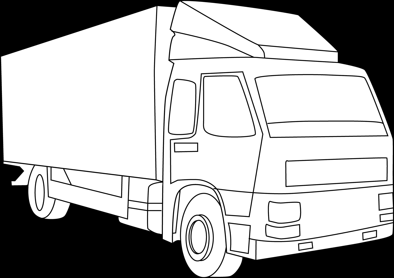 Line Drawing Truck : Cargo truck line art free clip