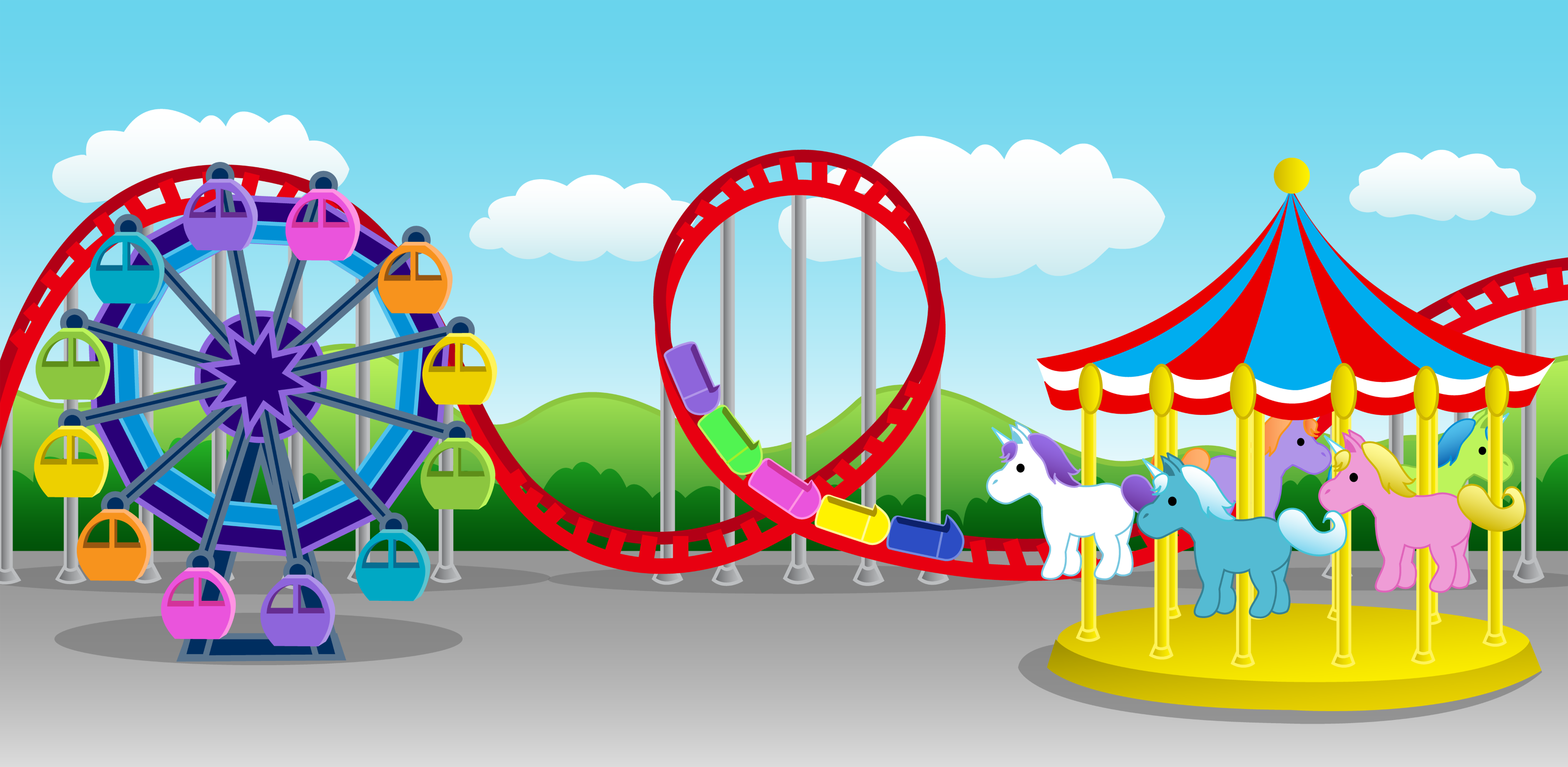 Cute Colorful Amusement Park