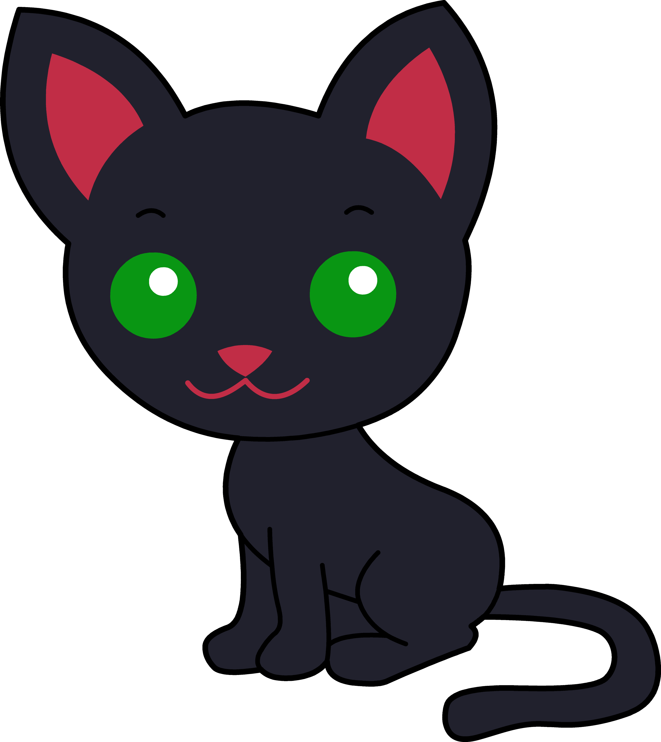 Cute Black Kitty Cat - Free Clip Art