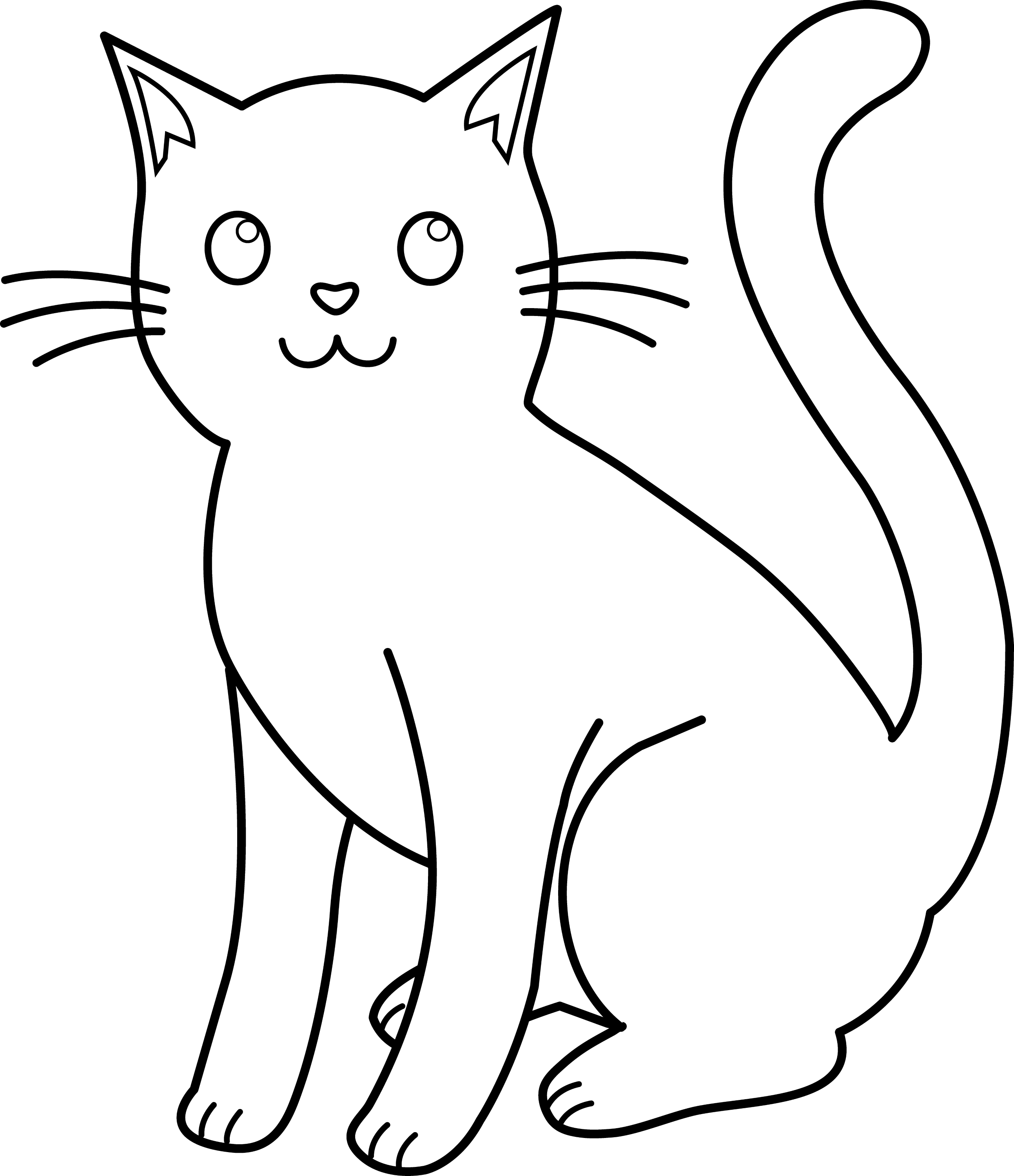 Line Drawing Kitten : Black and white cat lineart free clip art