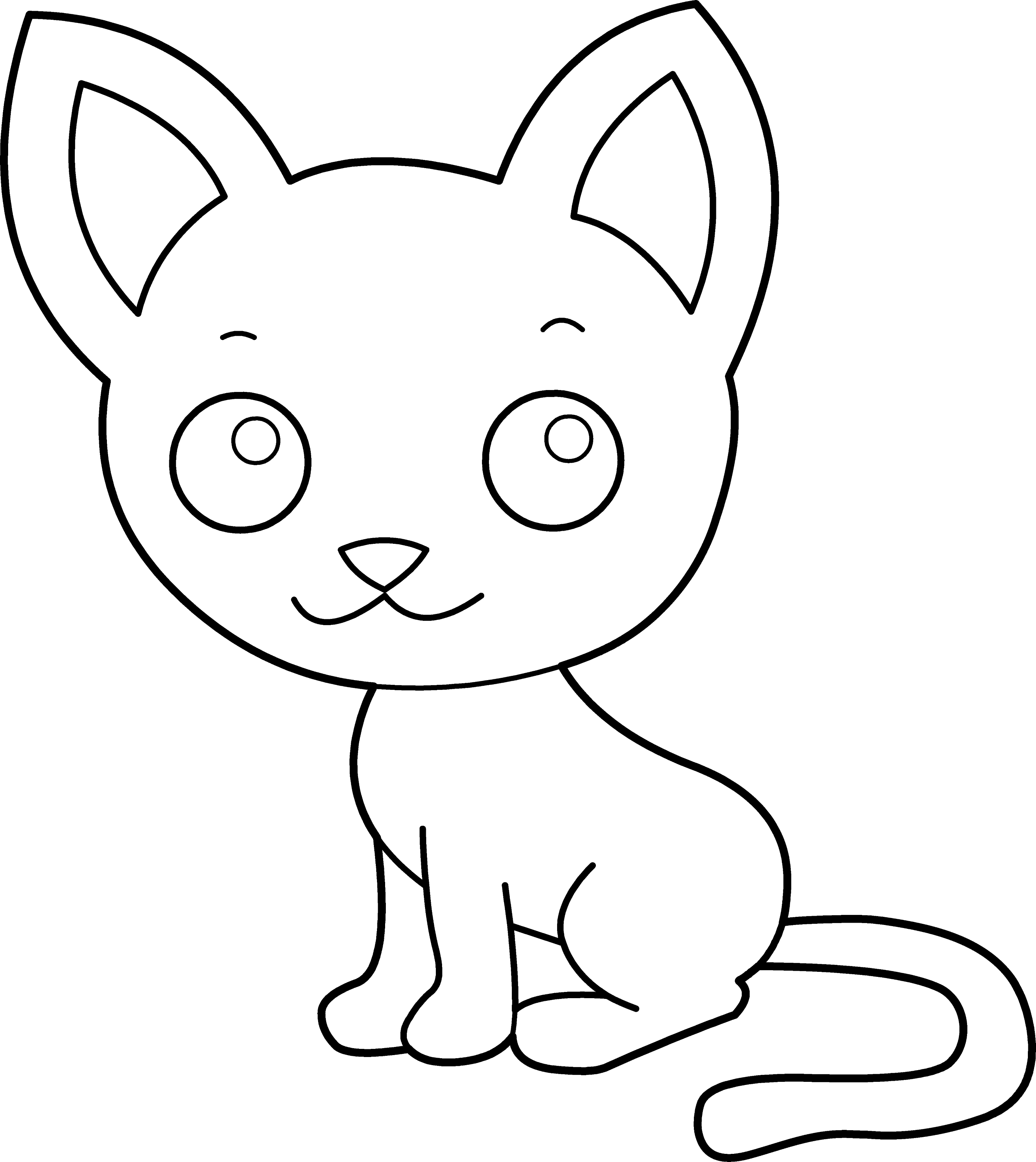 Cute Kitty Cat Coloring Page - Free Clip Art