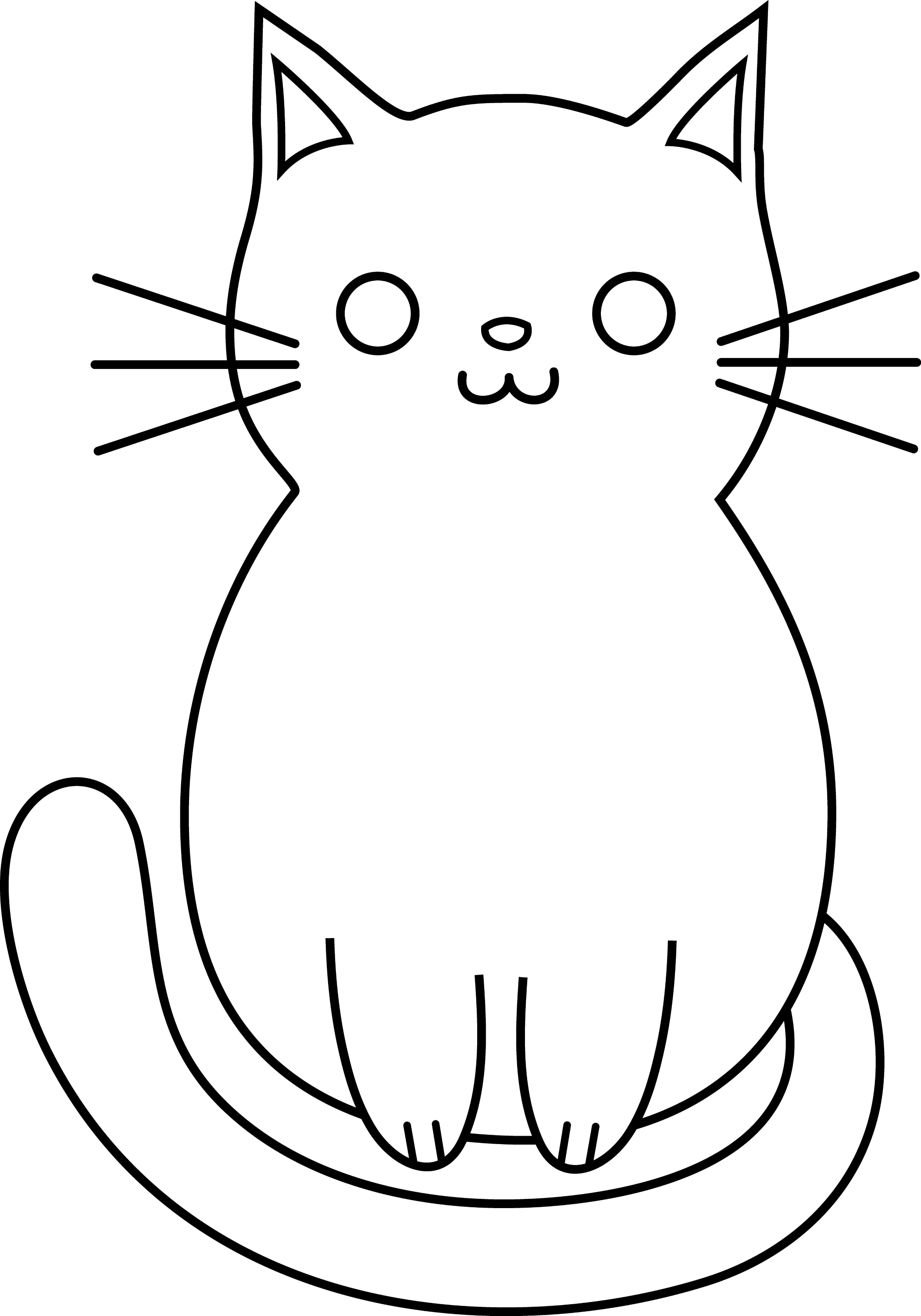 Line Drawing Kitten : Cute cat line art free clip