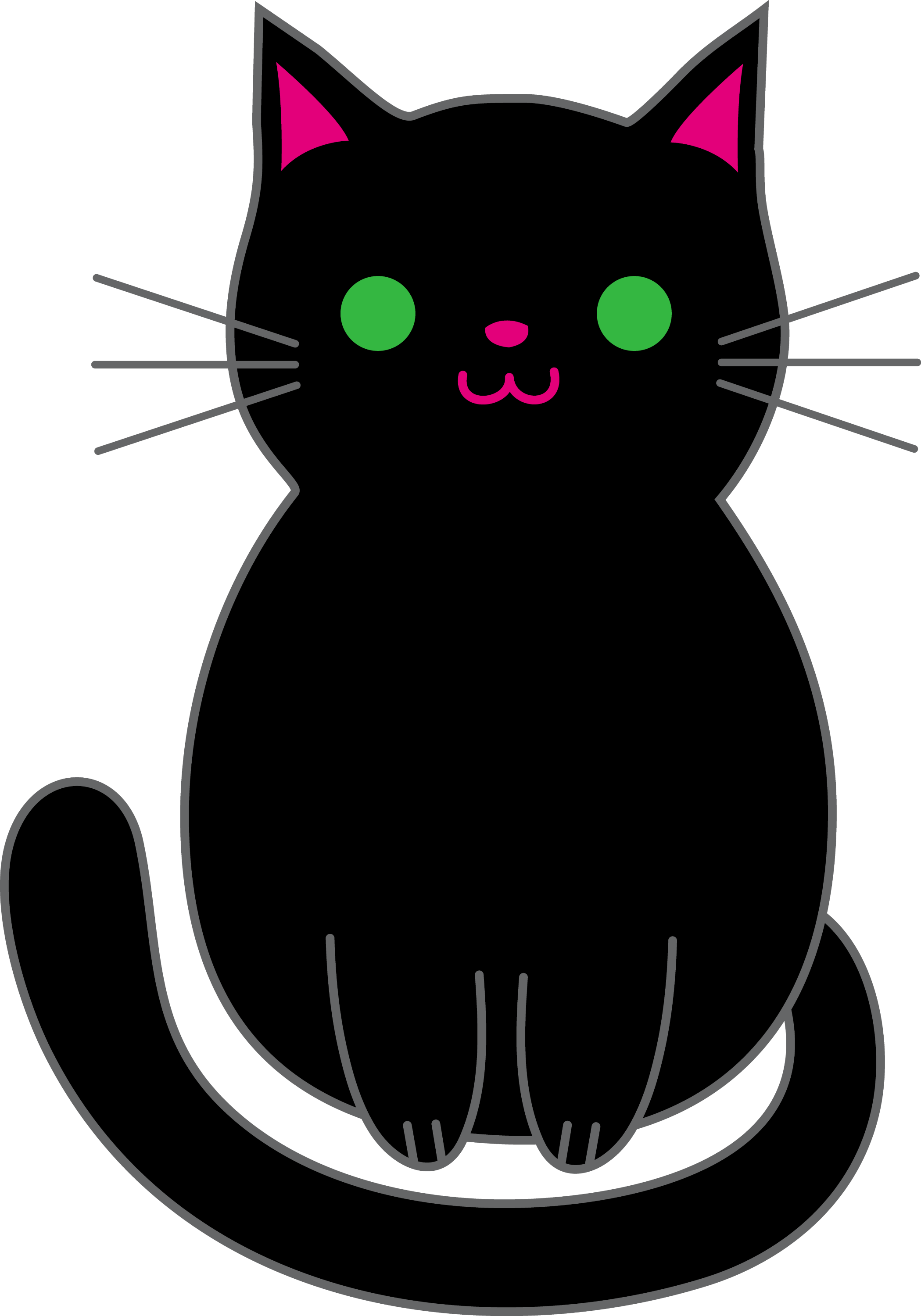 Cute Black Kitten - Free Clip Art