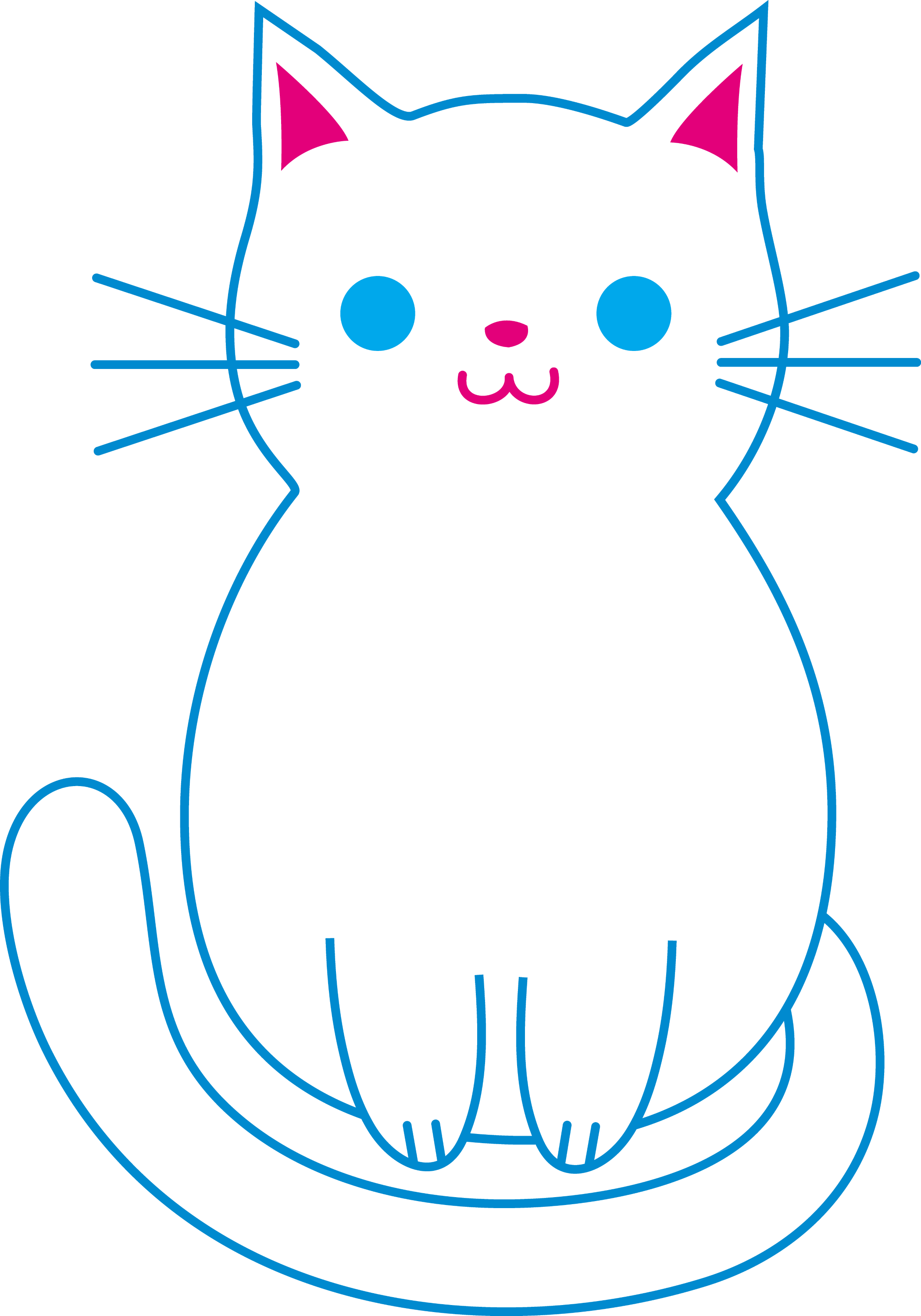 Cute White Cat - Free Clip Art