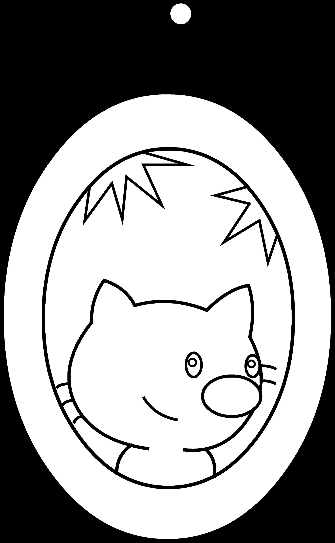 Cute Cat Portrait Coloring Page - Free Clip Art