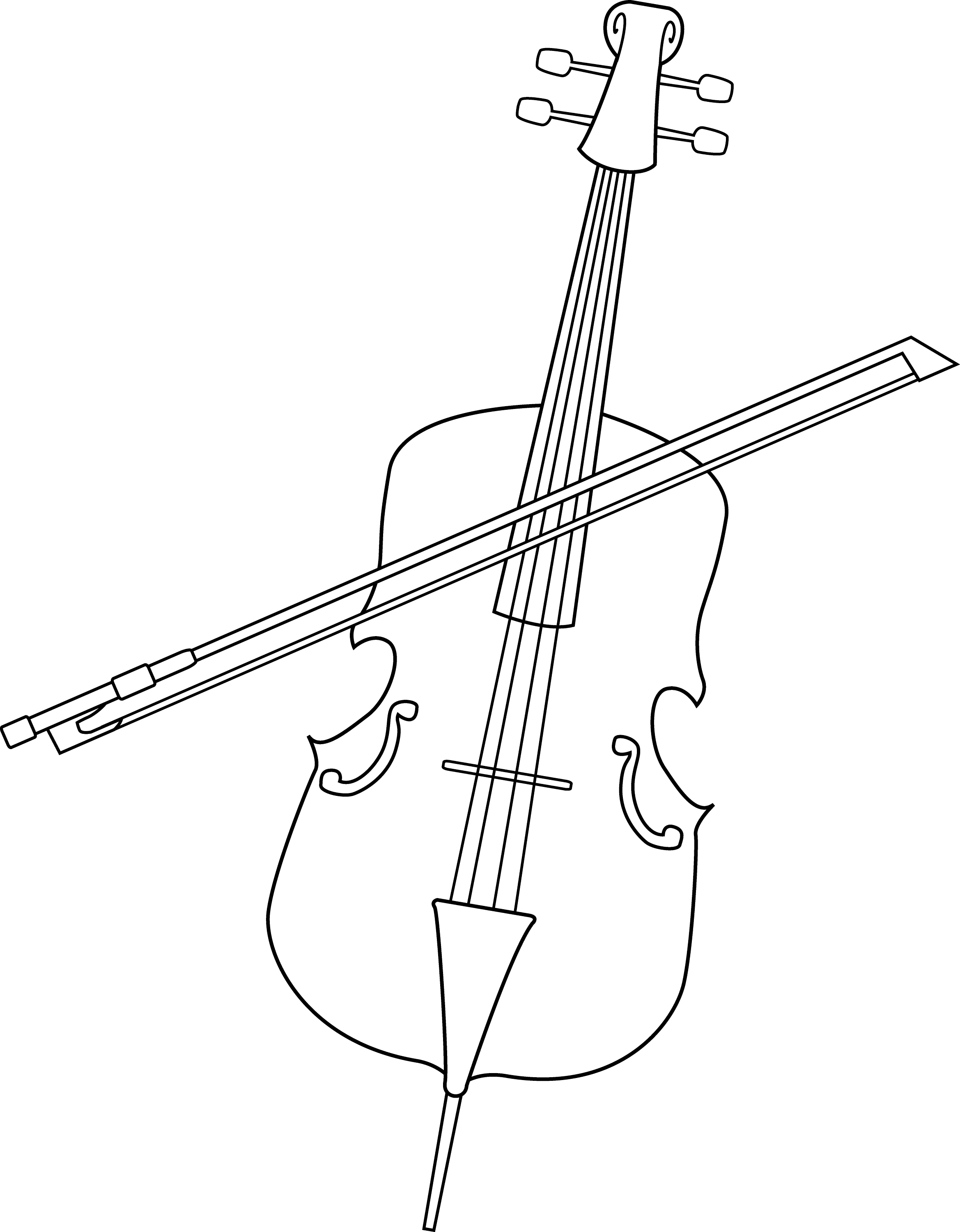 Elegant Cello Line Art