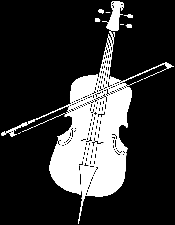 Elegant Cello Line Art