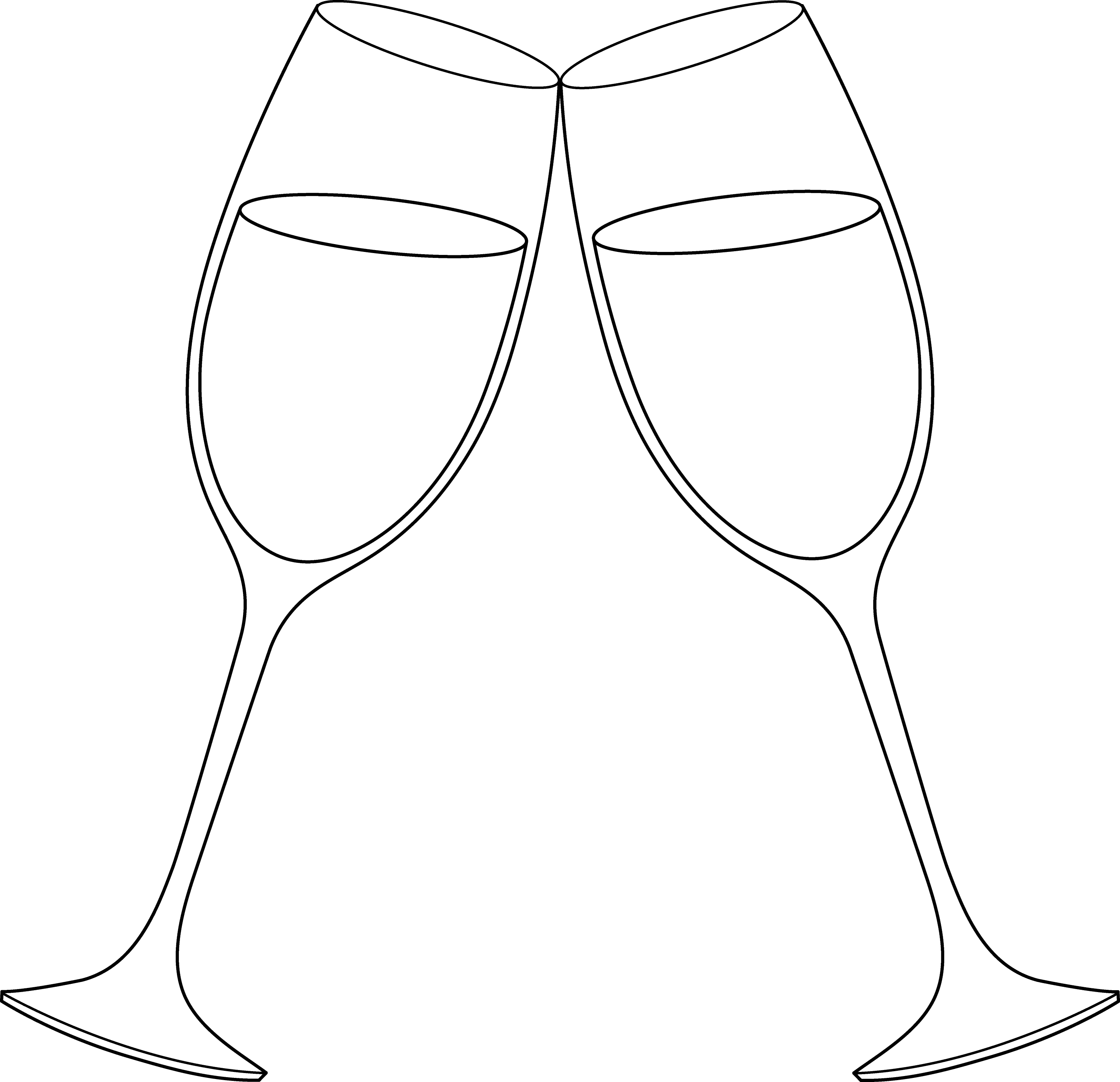 Line Drawing Glasses : Champagne glasses line art free clip