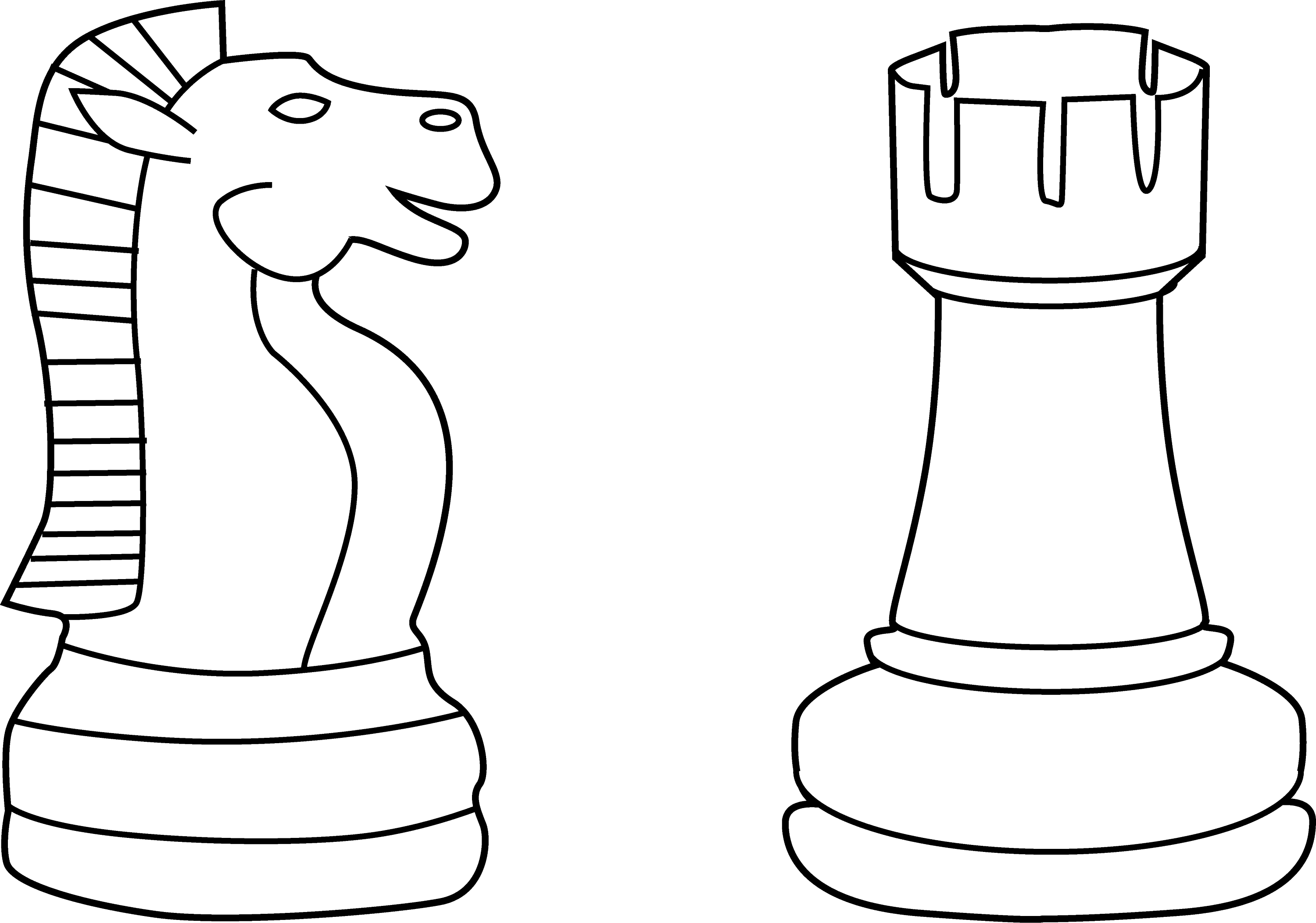 chess coloring pages | Two Chess Pieces Line Art - Free Clip Art