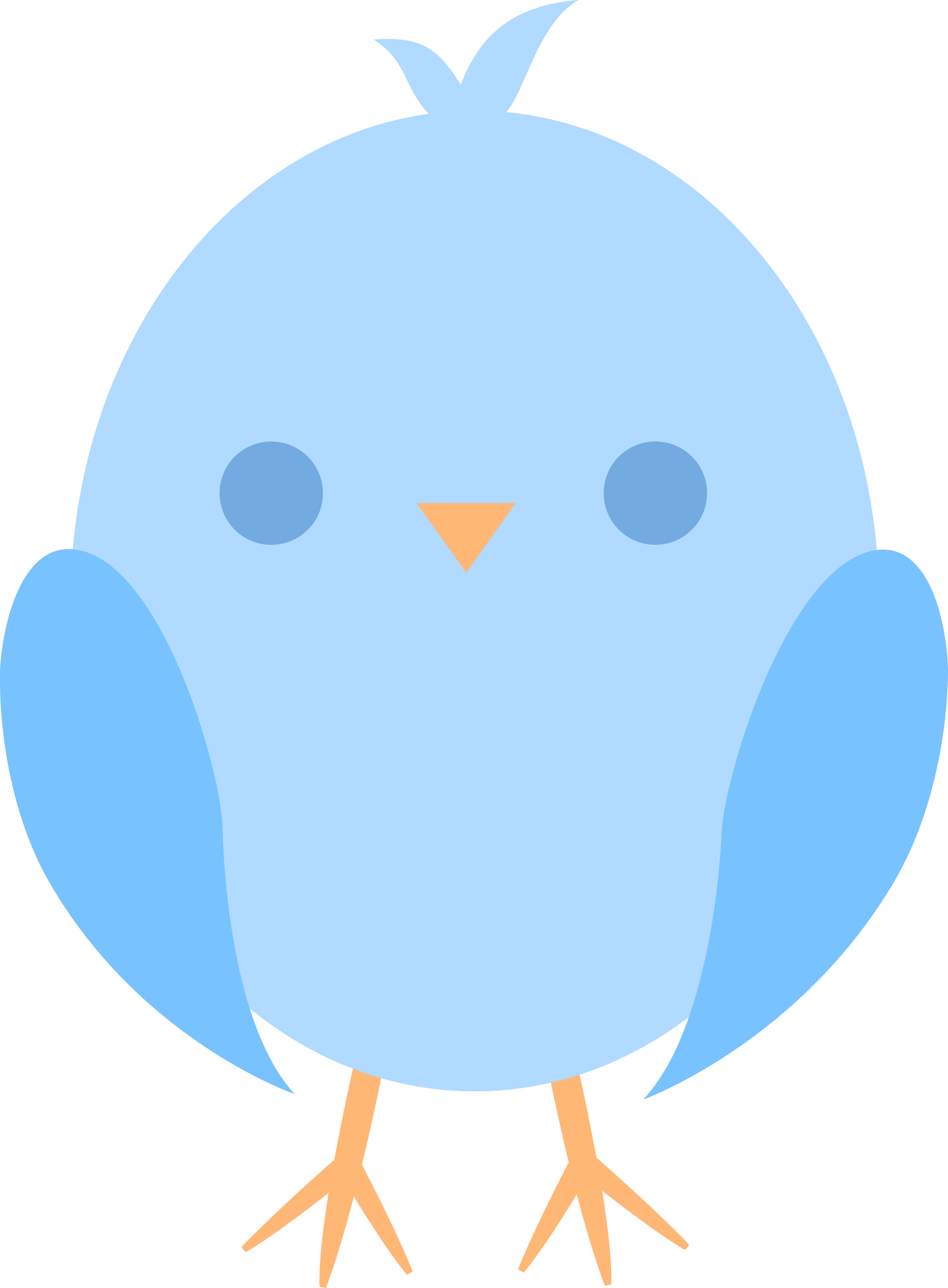 Cute Little Blue Easter Chick - Free Clip Art