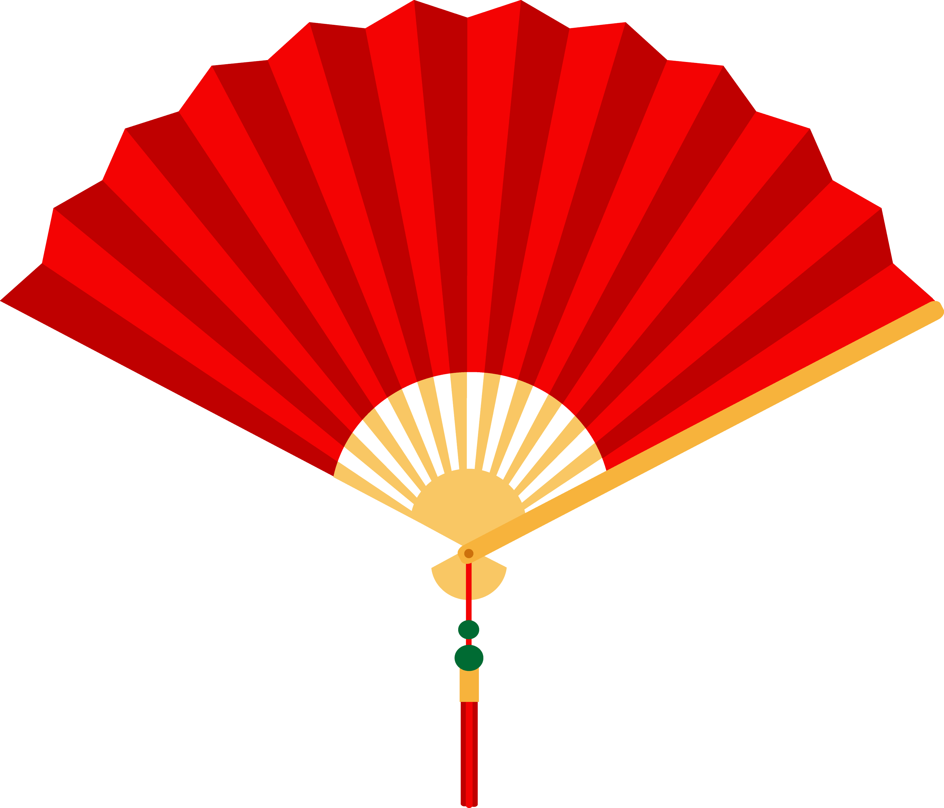 Red Chinese Hand Fan - Free Clip Art