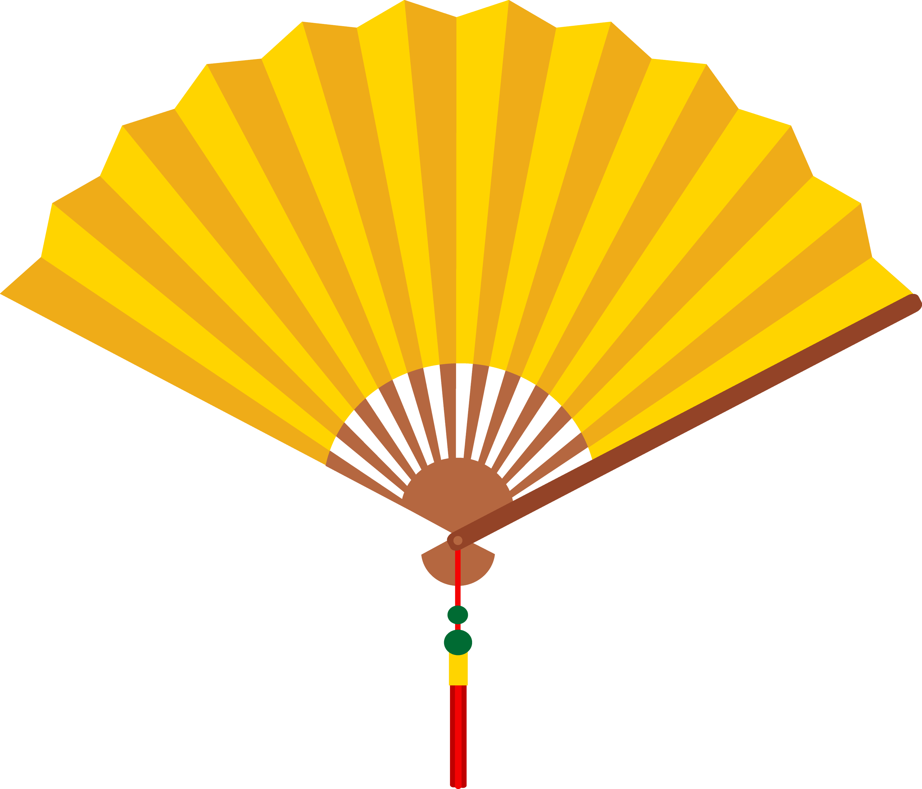 Yellow Chinese Hand Fan - Free Clip Art