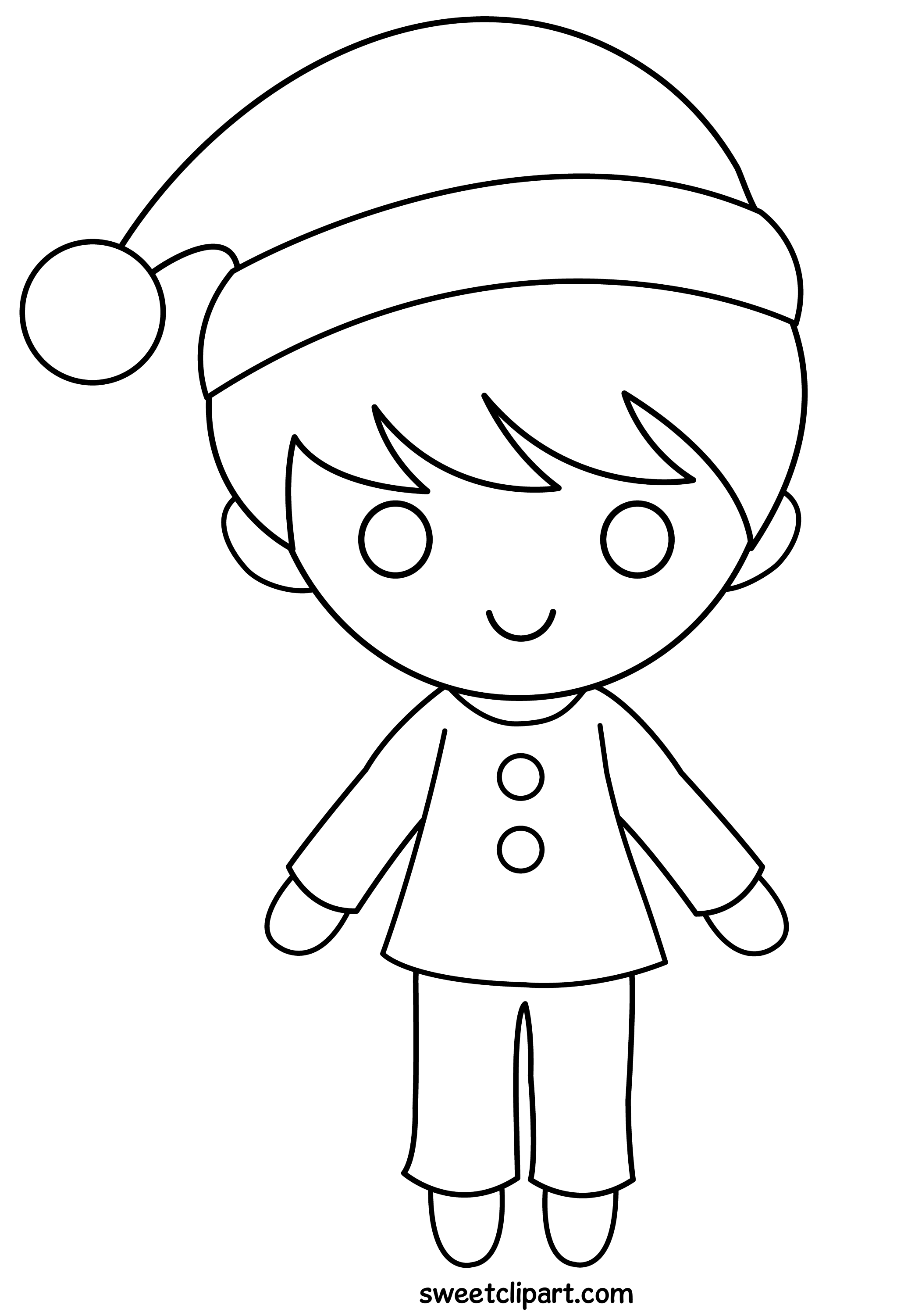 Christmas Boy Coloring Page - Free Clip Art