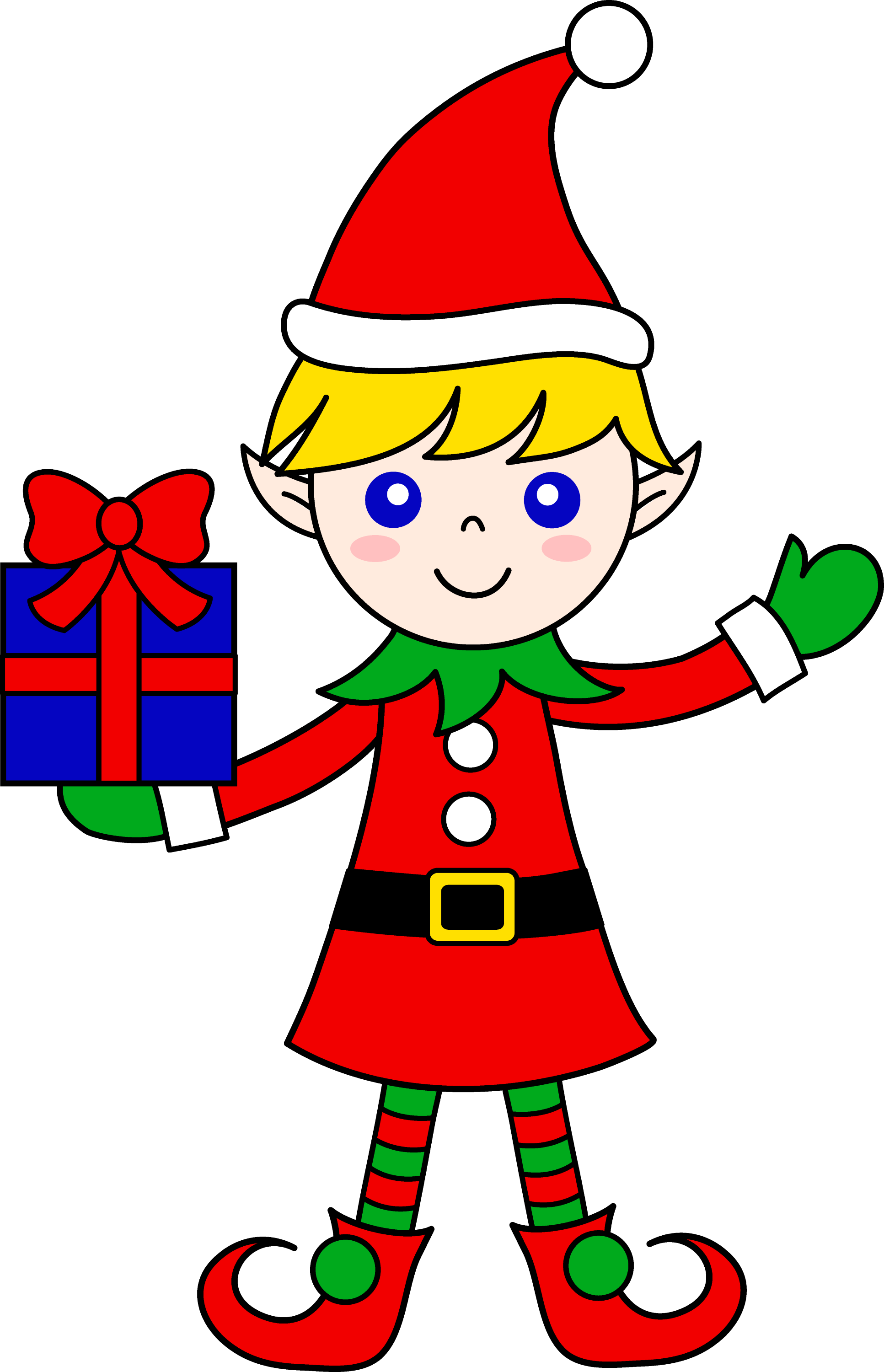 Cute Christmas Elf With Gift - Free Clip Art