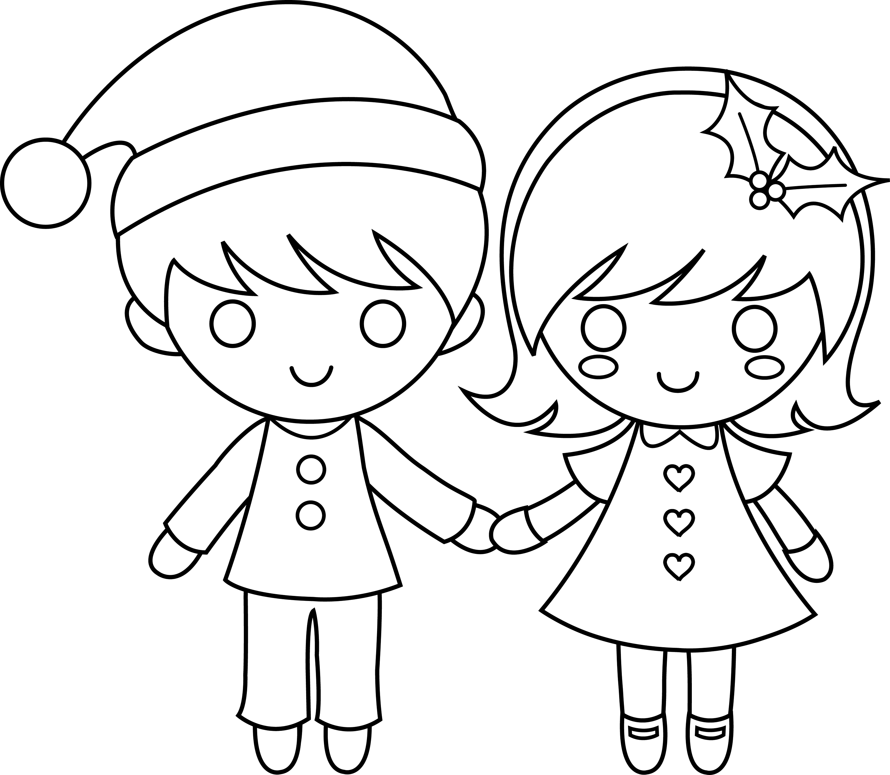 Line Drawing For Kids : Christmas kids line art free clip