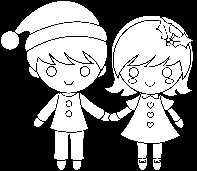 Christmas Kids Line Art - Free Clip Art