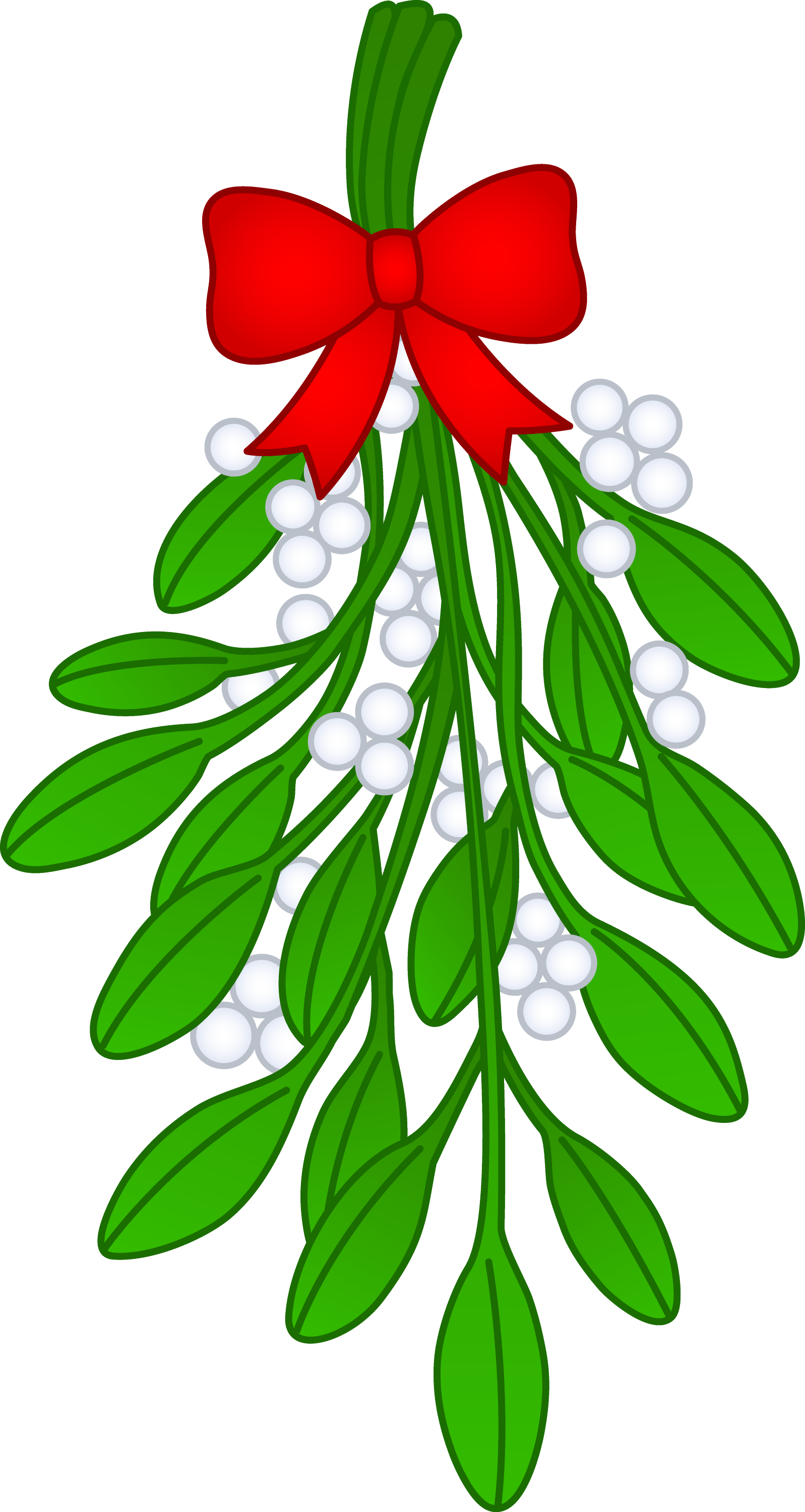 Christmas Mistletoe With Red Bow - Free Clip Art