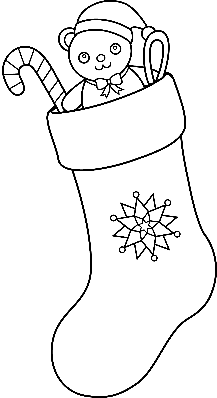 Christmas Stocking Line Art - Free Clip Art