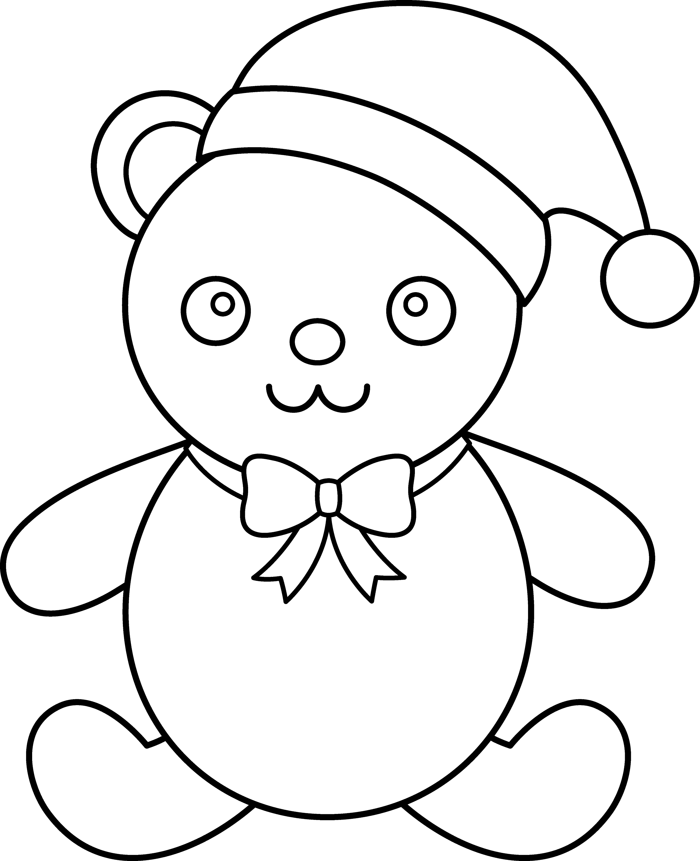 christmas teddy bear line art free clip art
