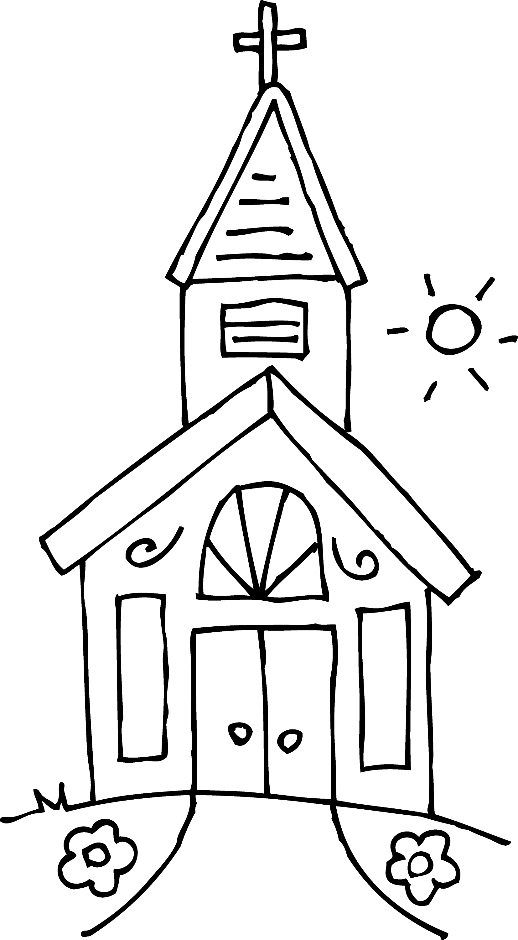 Little Church Coloring Clip Art