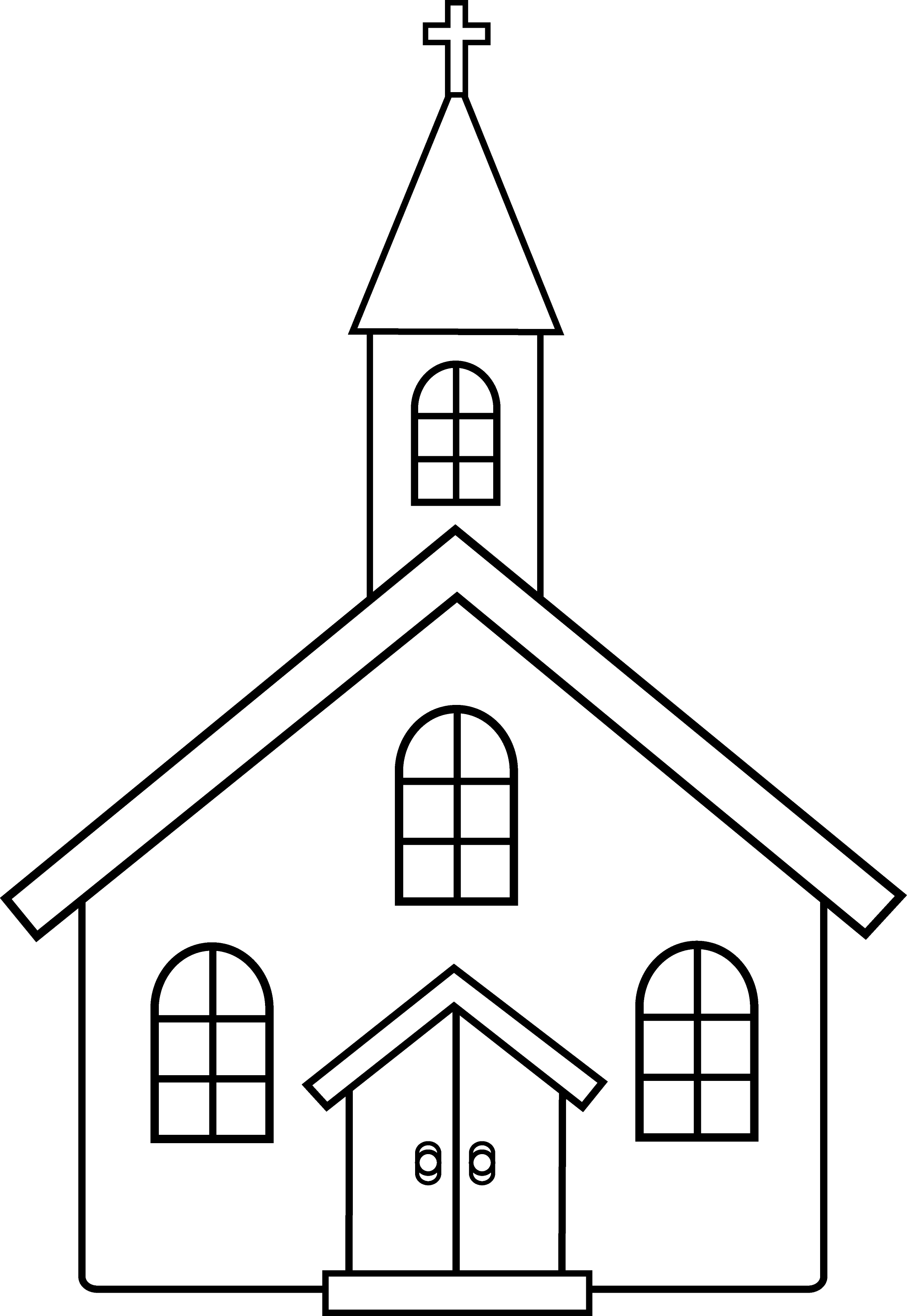 Little church line art free clip art for Church coloring pages printable