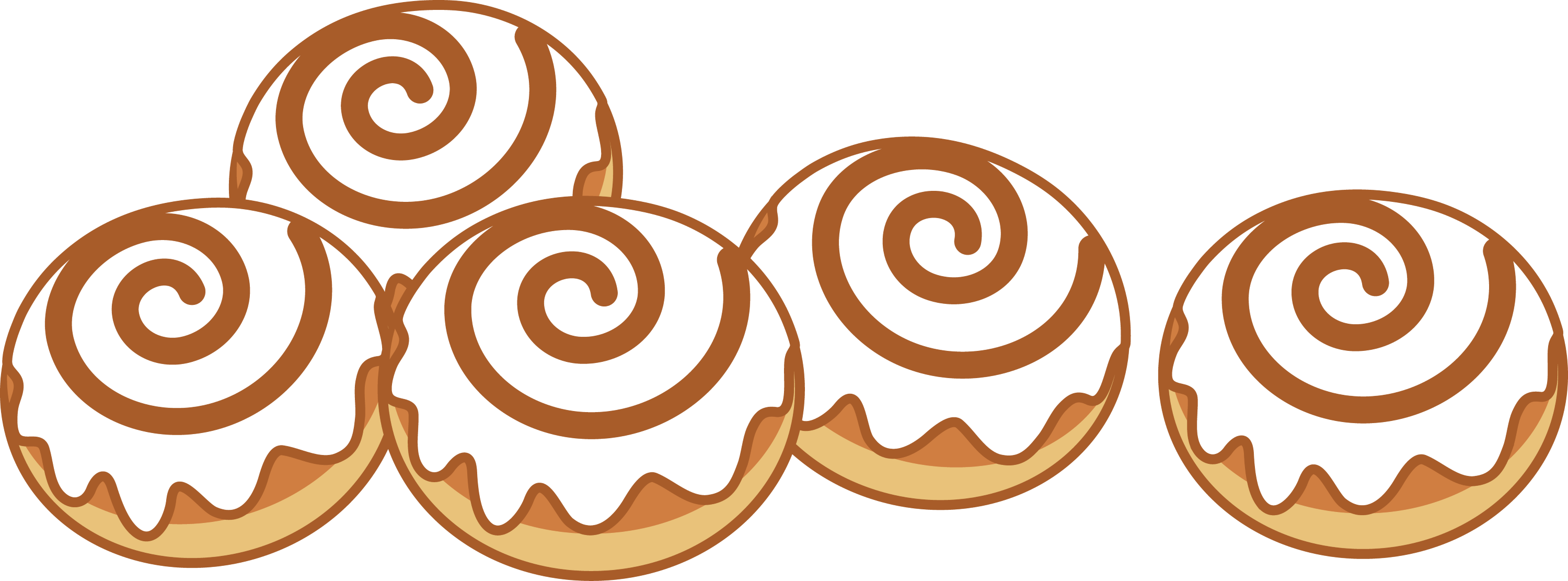 Five Cinnamon Rolls - Free Clip Art